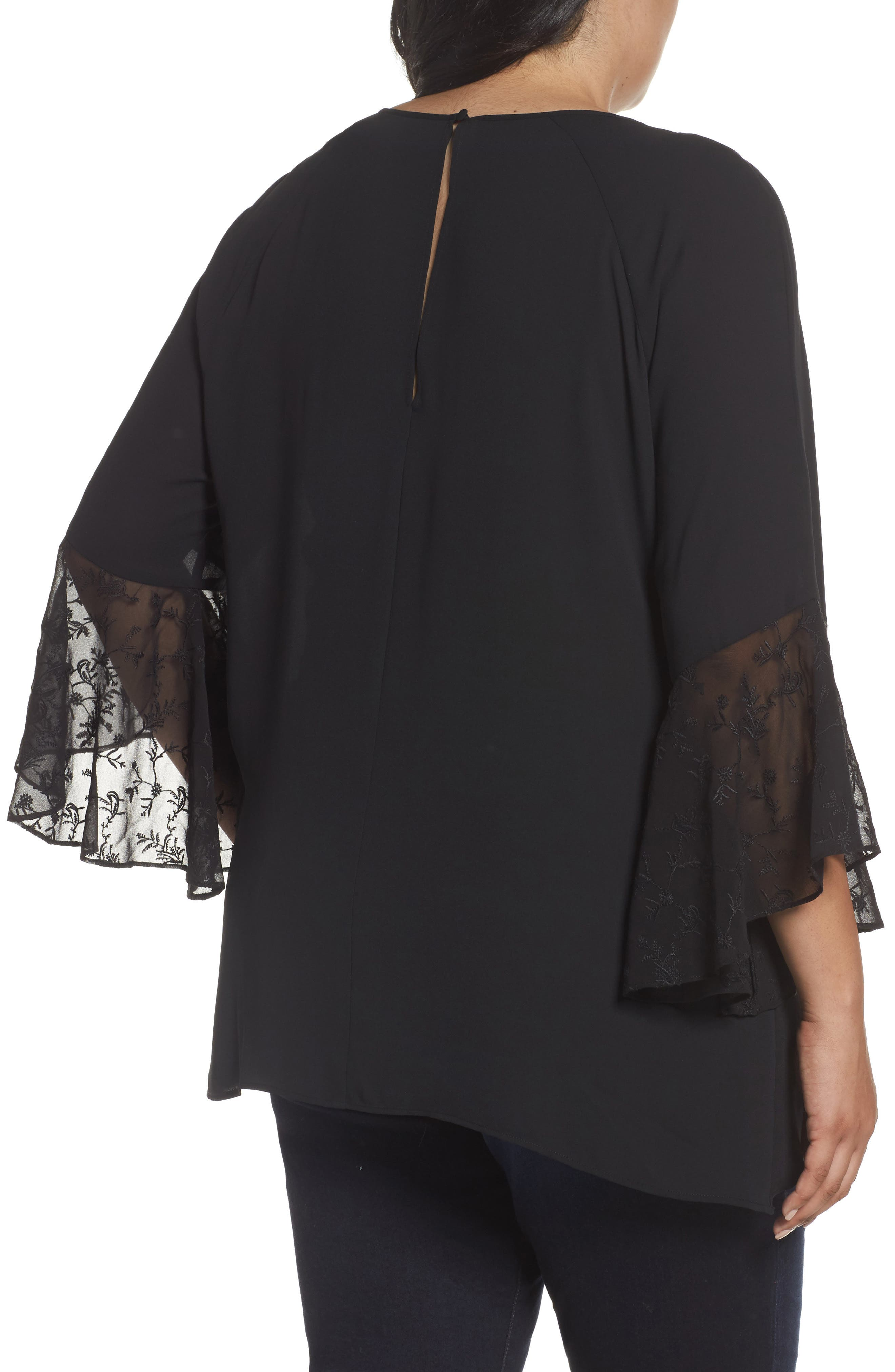 Embroidered Bell Sleeve Blouse,                             Alternate thumbnail 2, color,                             001