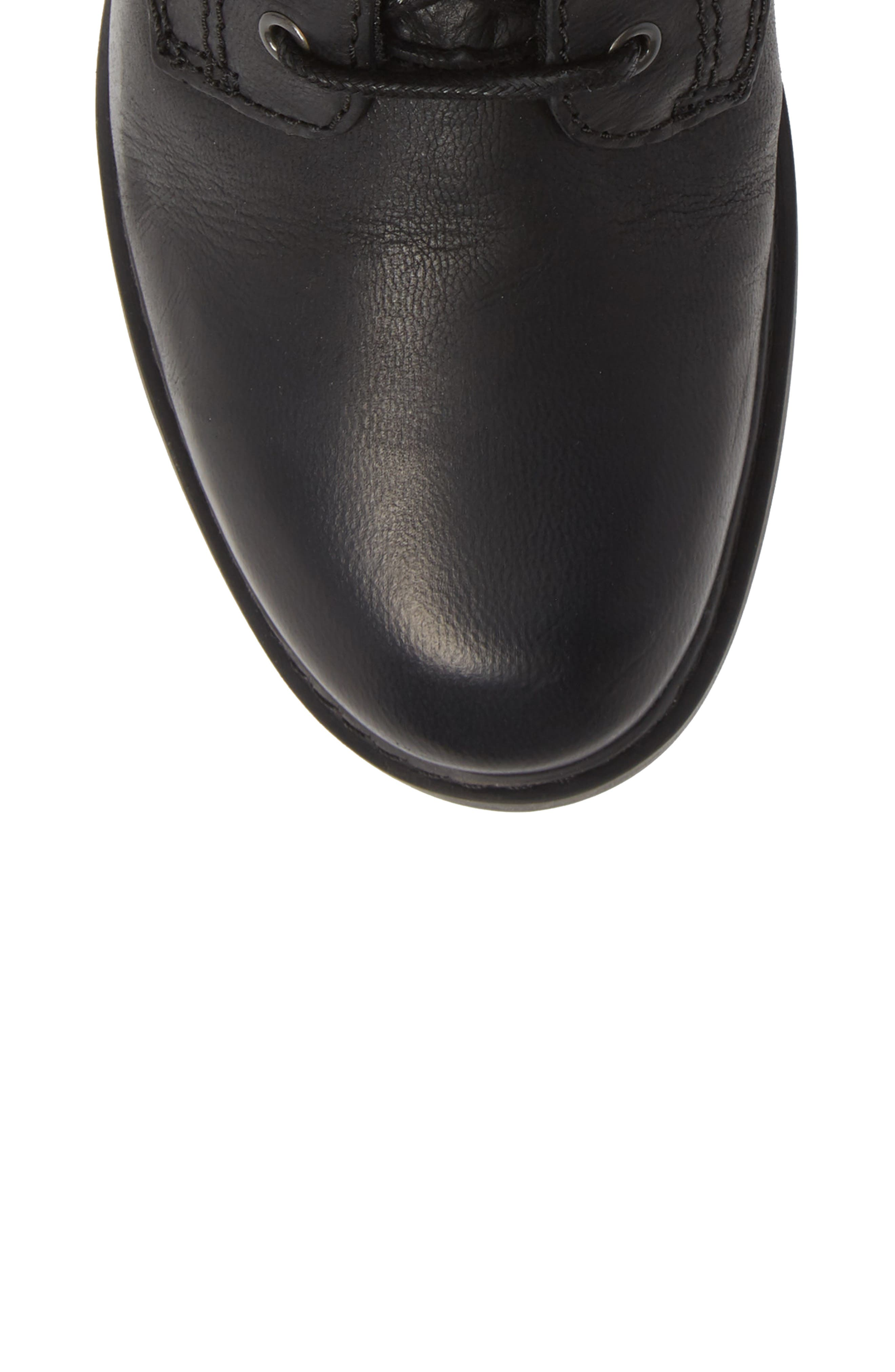 Sutherlin Bay Water Resistant Lace-Up Bootie,                             Alternate thumbnail 5, color,                             JET BLACK LEATHER