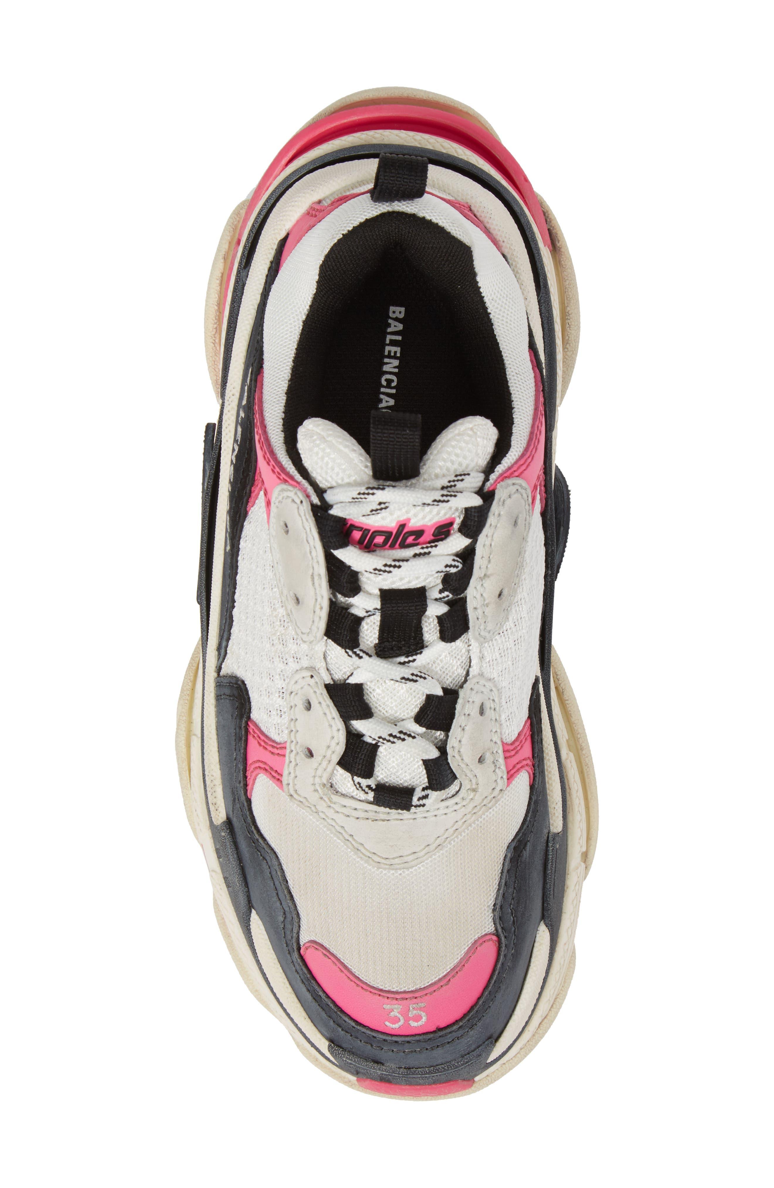 BALENCIAGA,                             Triple S Low Top Sneaker,                             Alternate thumbnail 5, color,                             WHITE/ BLACK/ PINK