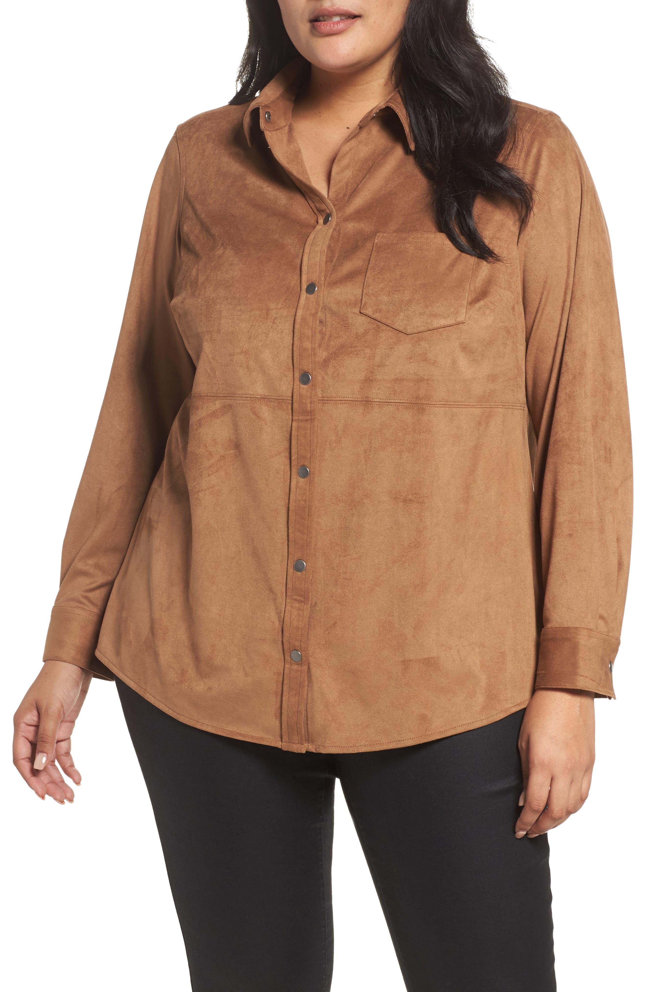 Jena Faux Suede Shirt,                             Main thumbnail 1, color,                             CAMEL
