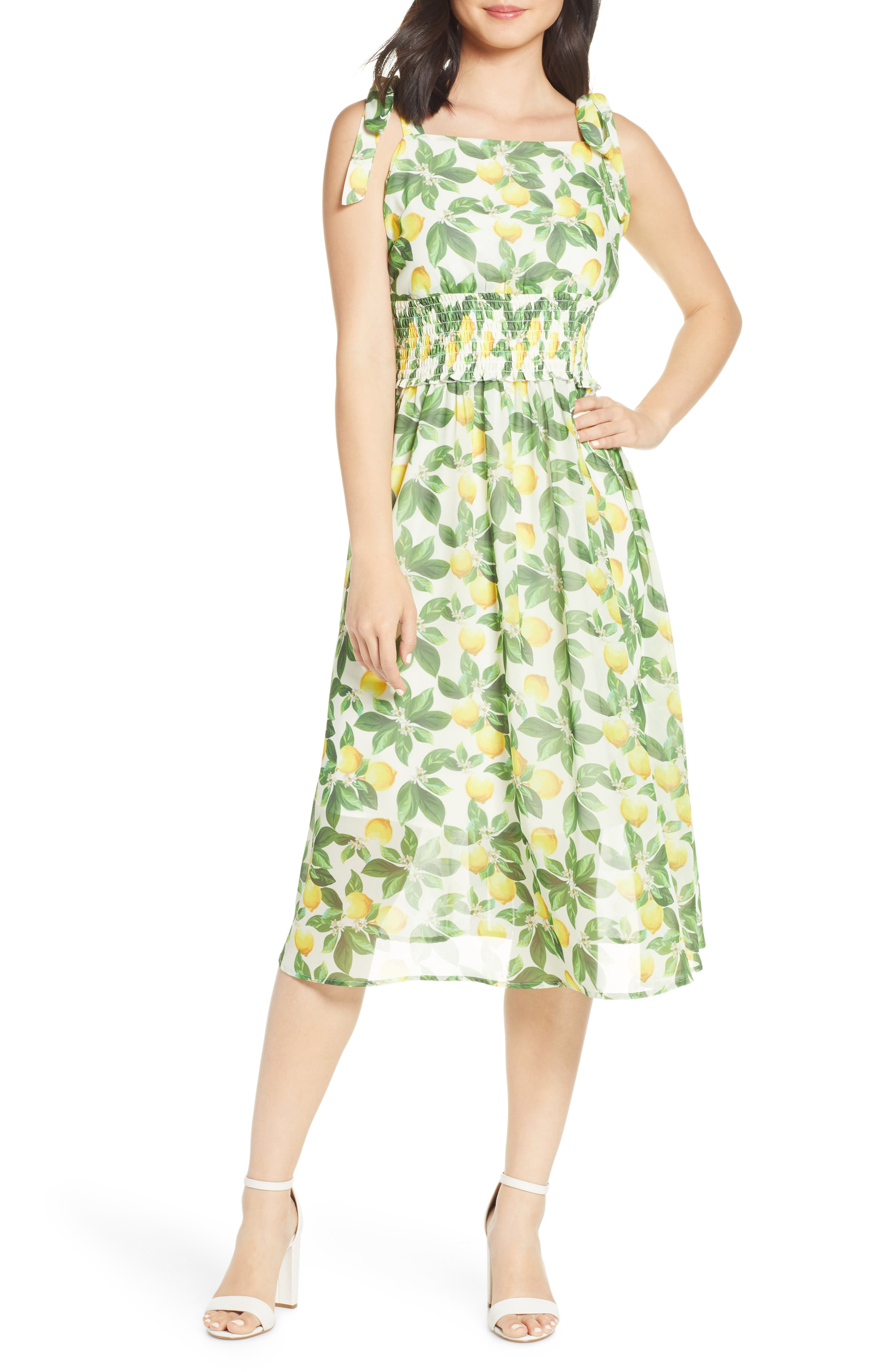 Sam Edelman Lemon Print Chiffon Sundress, Ivory