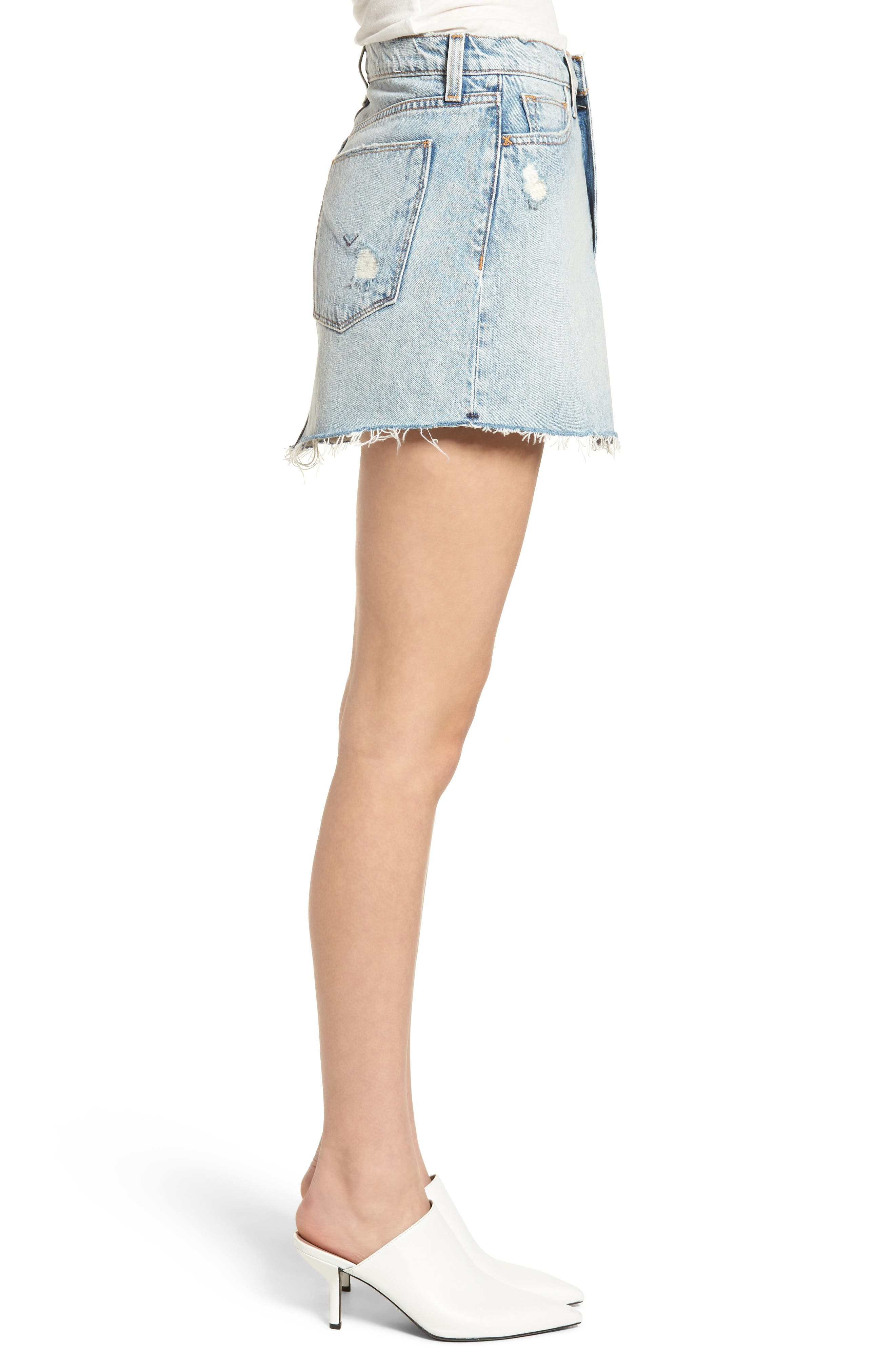 Vivid Cutoff Denim Miniskirt,                             Alternate thumbnail 3, color,                             453