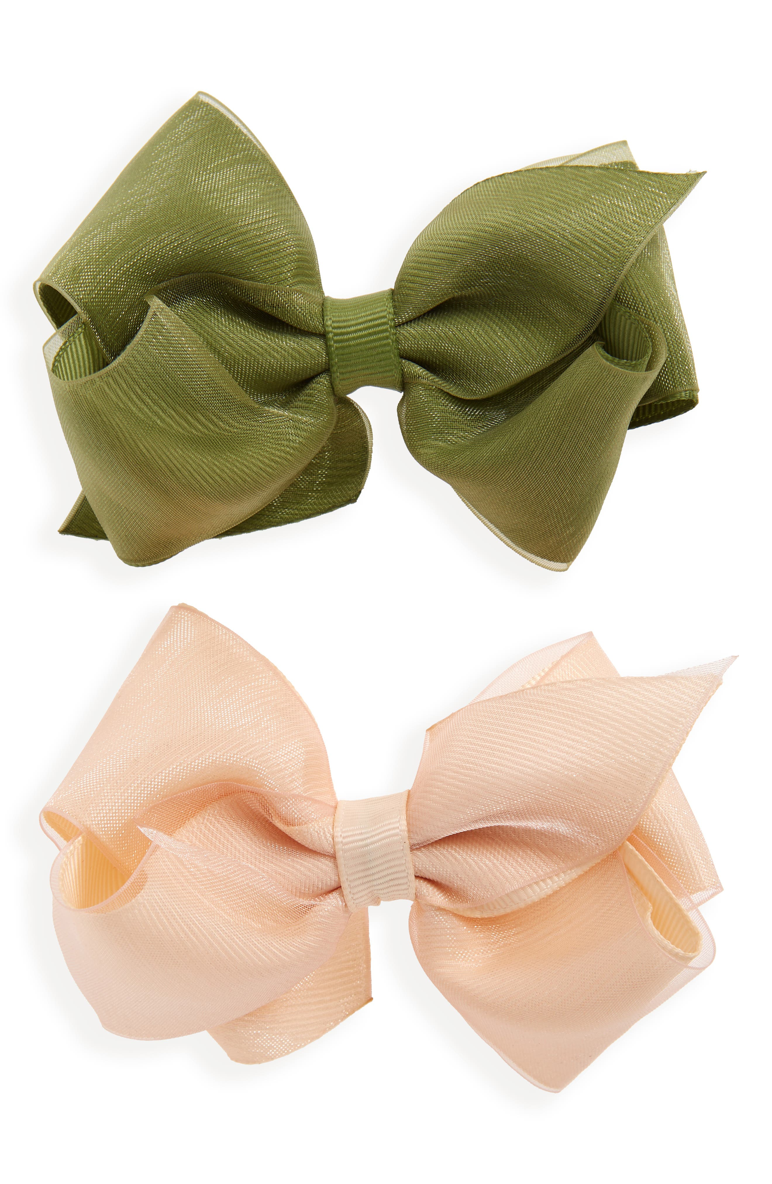 2-Pack Organza Bow Hair Clips,                             Main thumbnail 1, color,                             NUDE