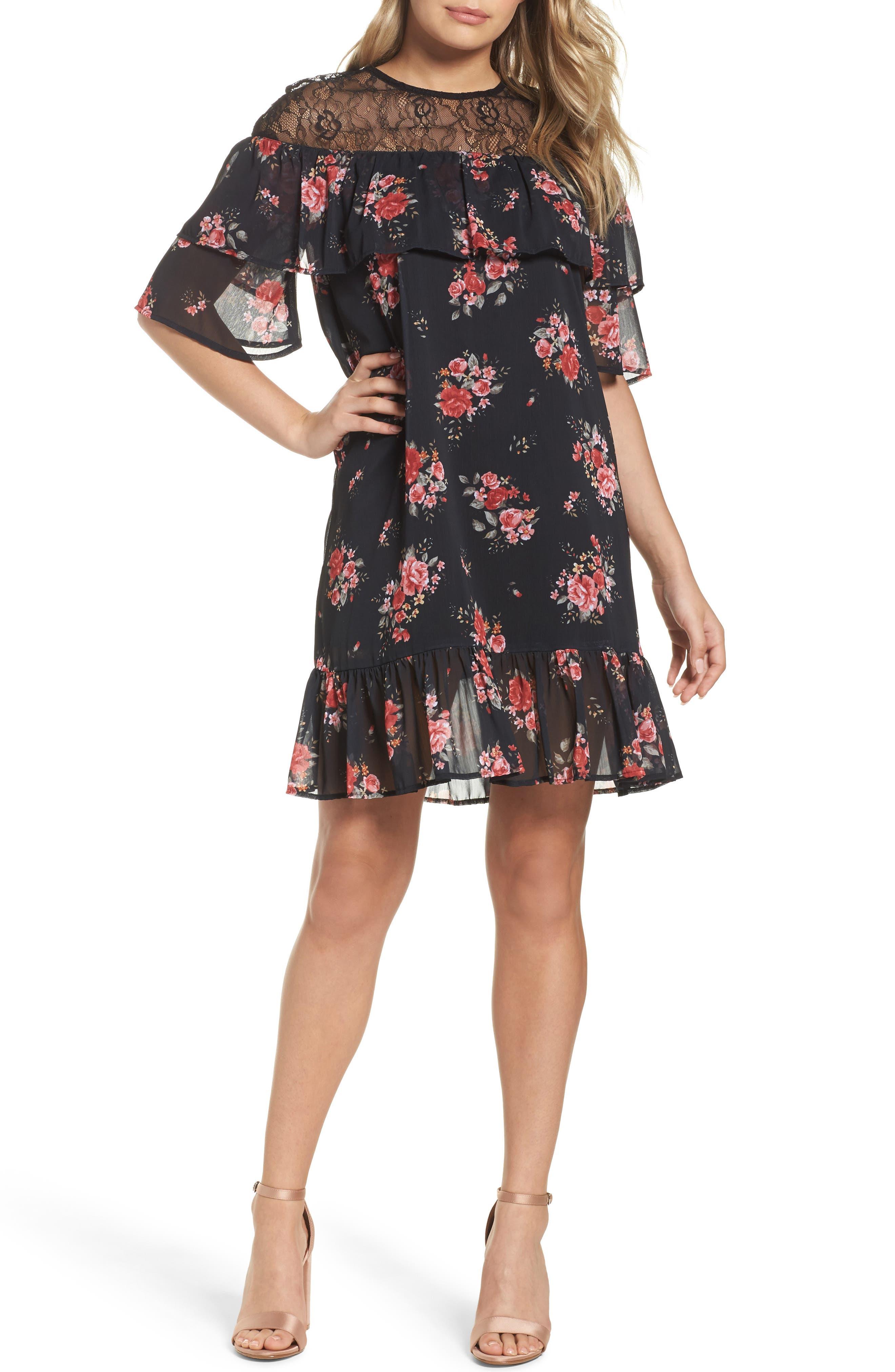 Ruffle Chiffon Shift Dress,                         Main,                         color, 001