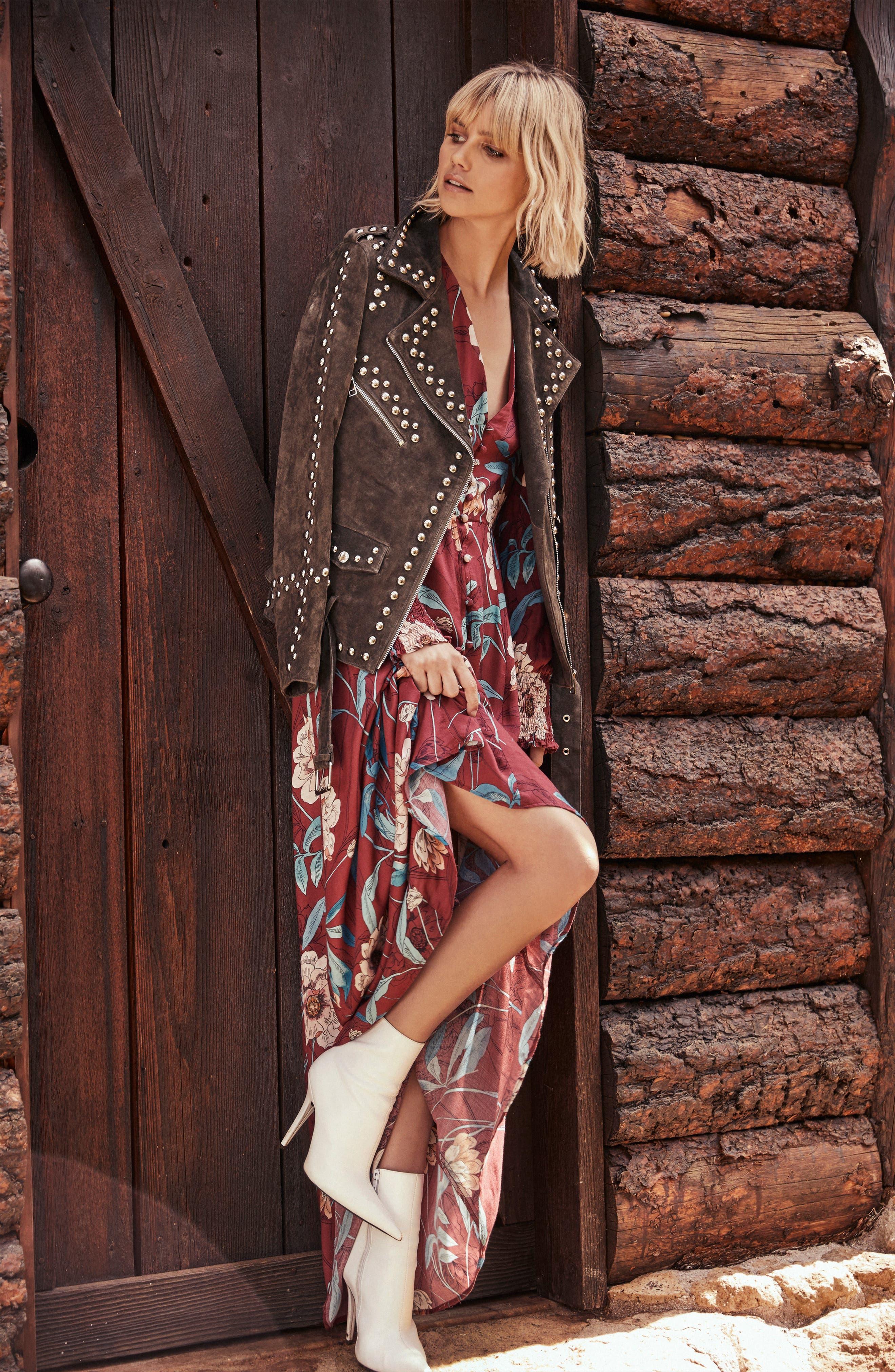 Print Maxi Dress,                             Alternate thumbnail 2, color,                             MAGENTA
