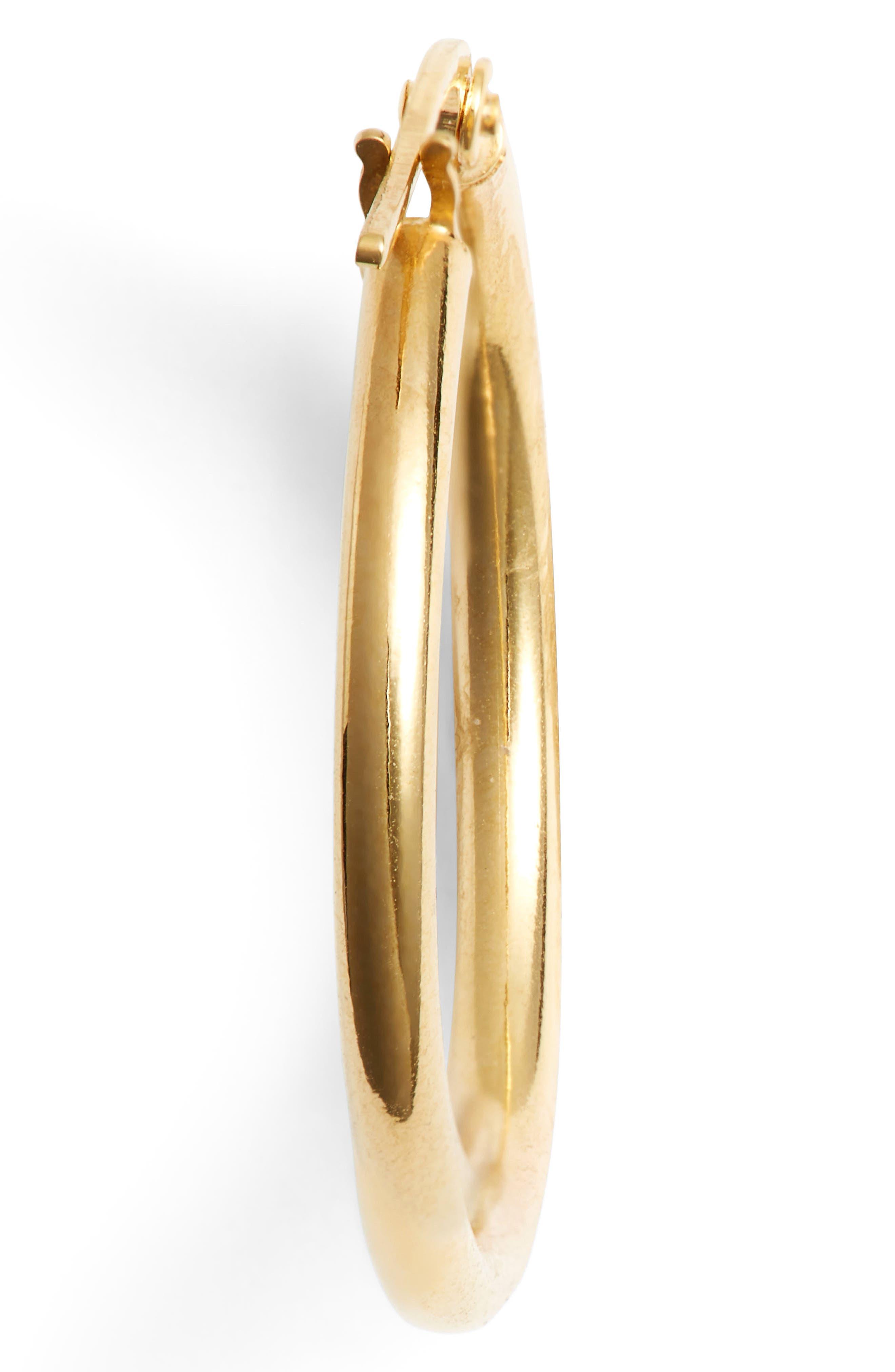 14k Gold Hoop Earrings,                             Alternate thumbnail 4, color,                             YELLOW GOLD