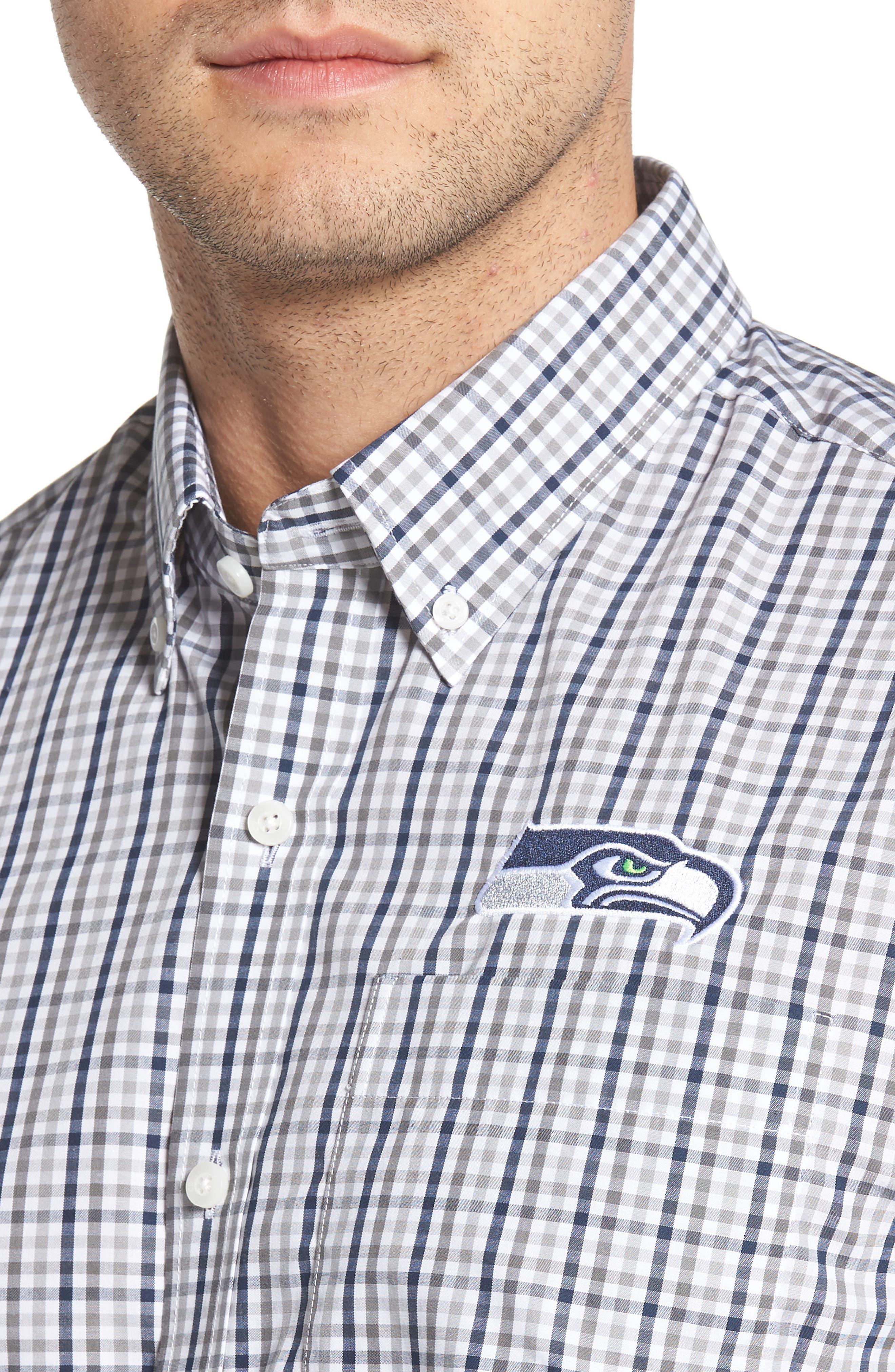 Seattle Seahawks - Gilman Regular Fit Plaid Sport Shirt,                             Alternate thumbnail 4, color,                             LIBERTY NAVY