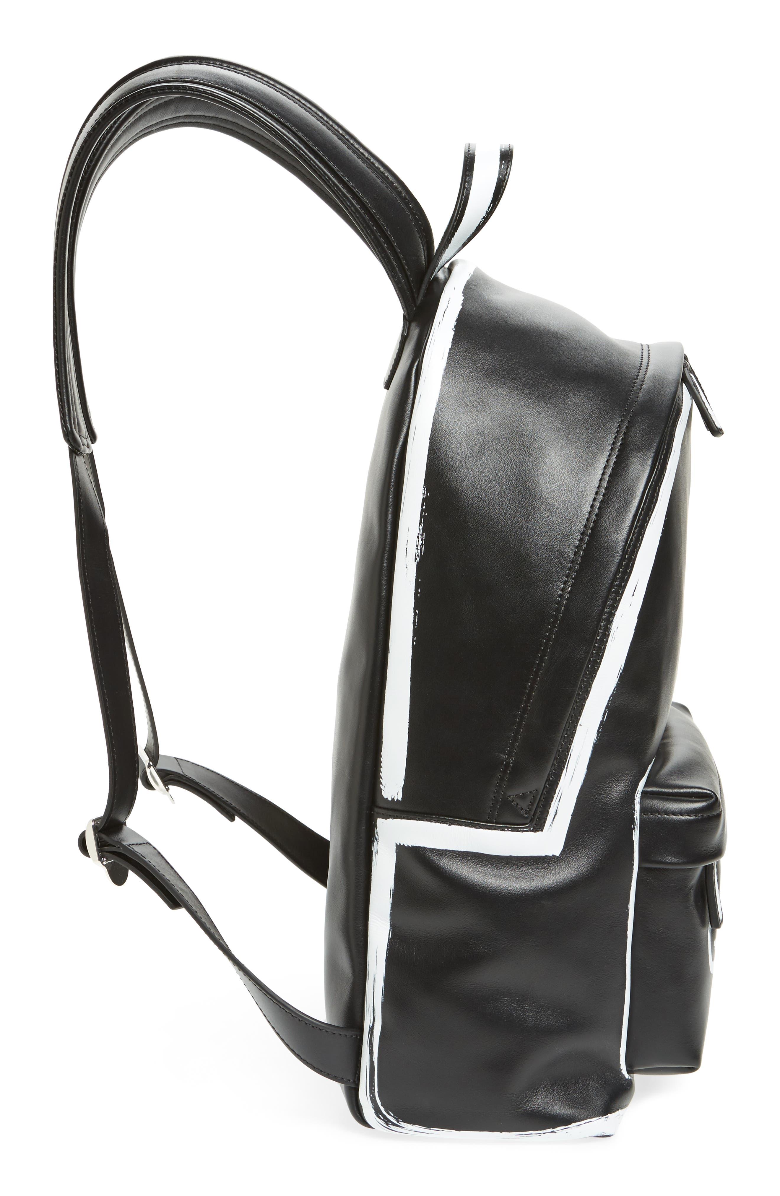 Graffiti Calfskin Leather Backpack,                             Alternate thumbnail 5, color,                             BLACK/ WHITE
