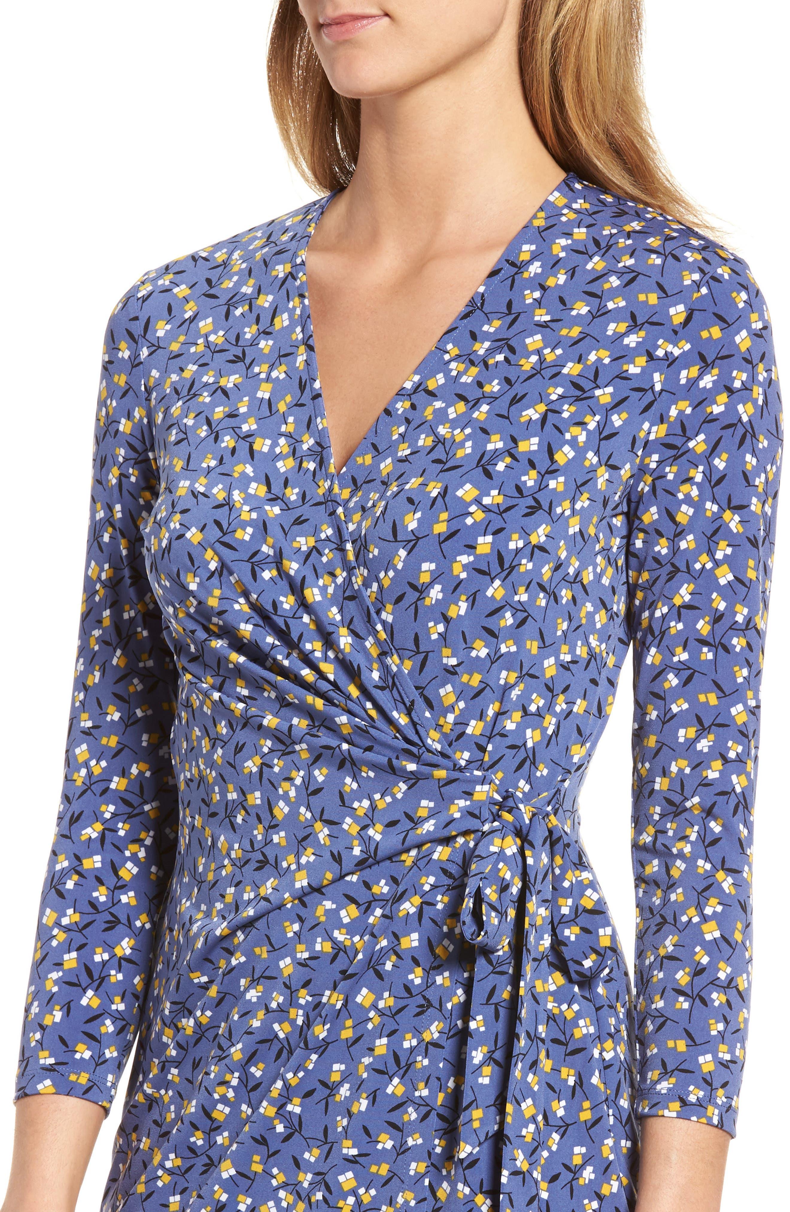 Dot Print Faux Wrap Dress,                             Alternate thumbnail 4, color,                             420