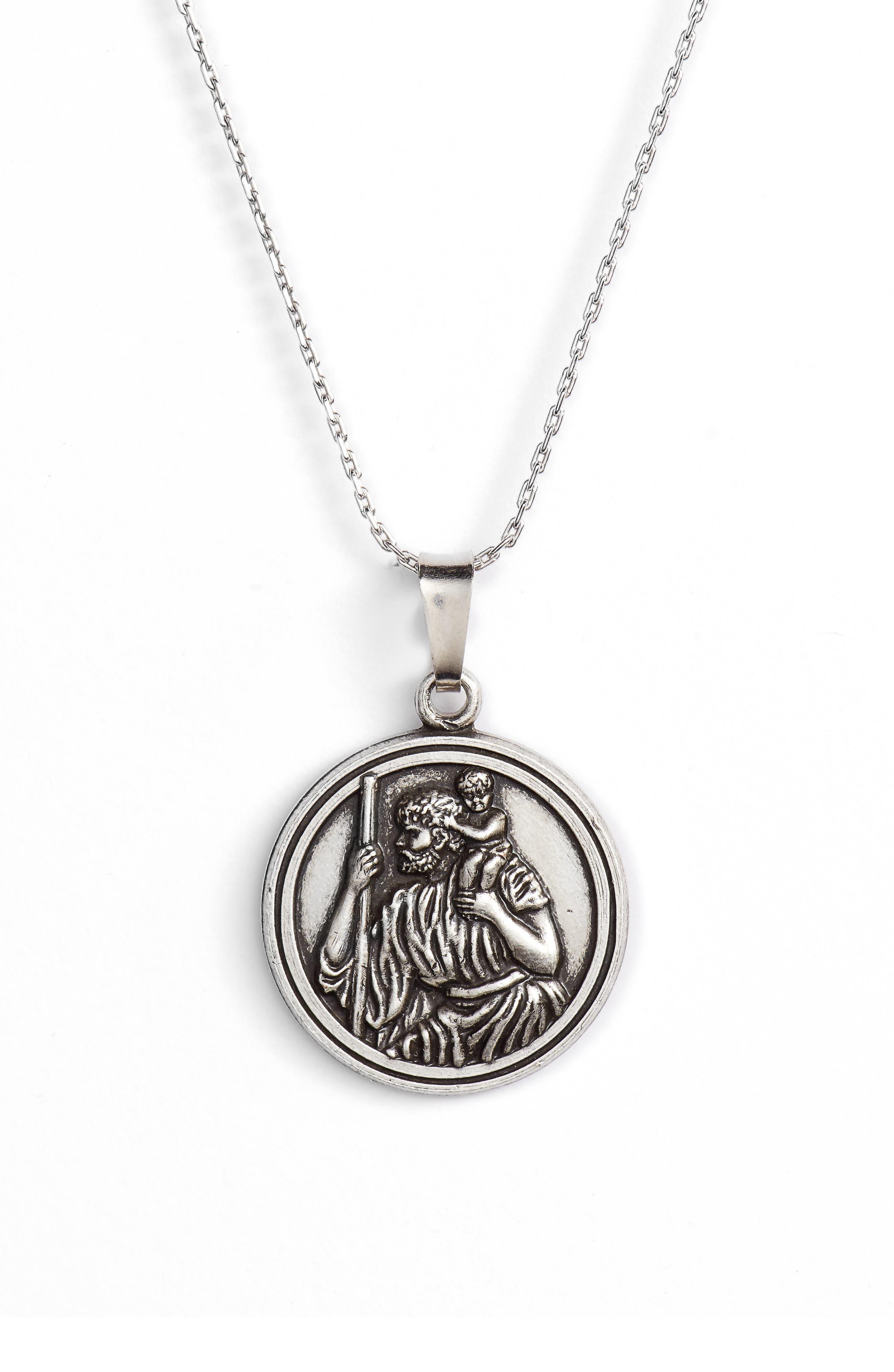 Saint Christopher Pendant Necklace,                             Main thumbnail 1, color,                             SILVER
