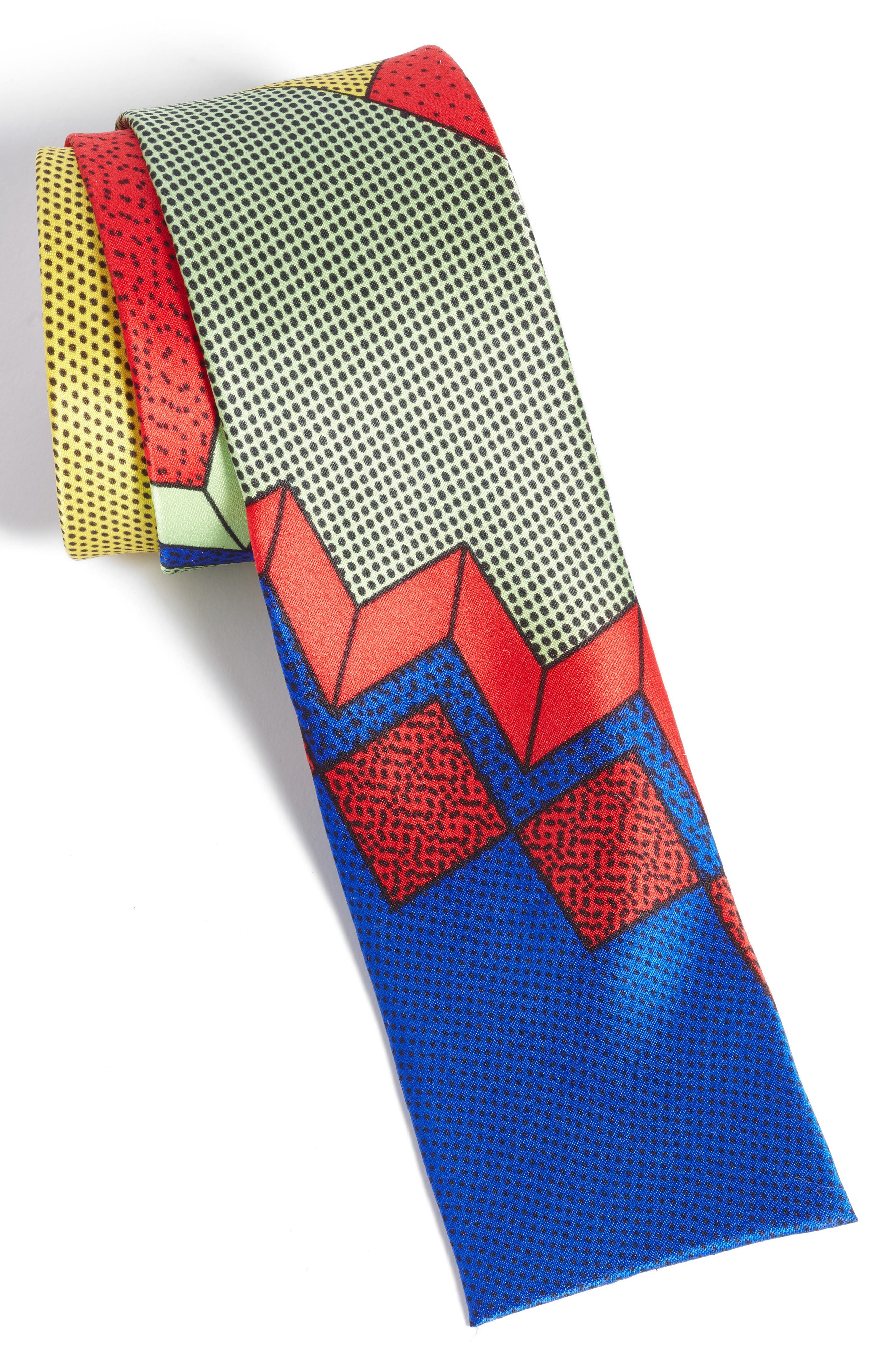 MEMPHIS Milano Red/Blue Print Silk Tie,                             Alternate thumbnail 2, color,                             600