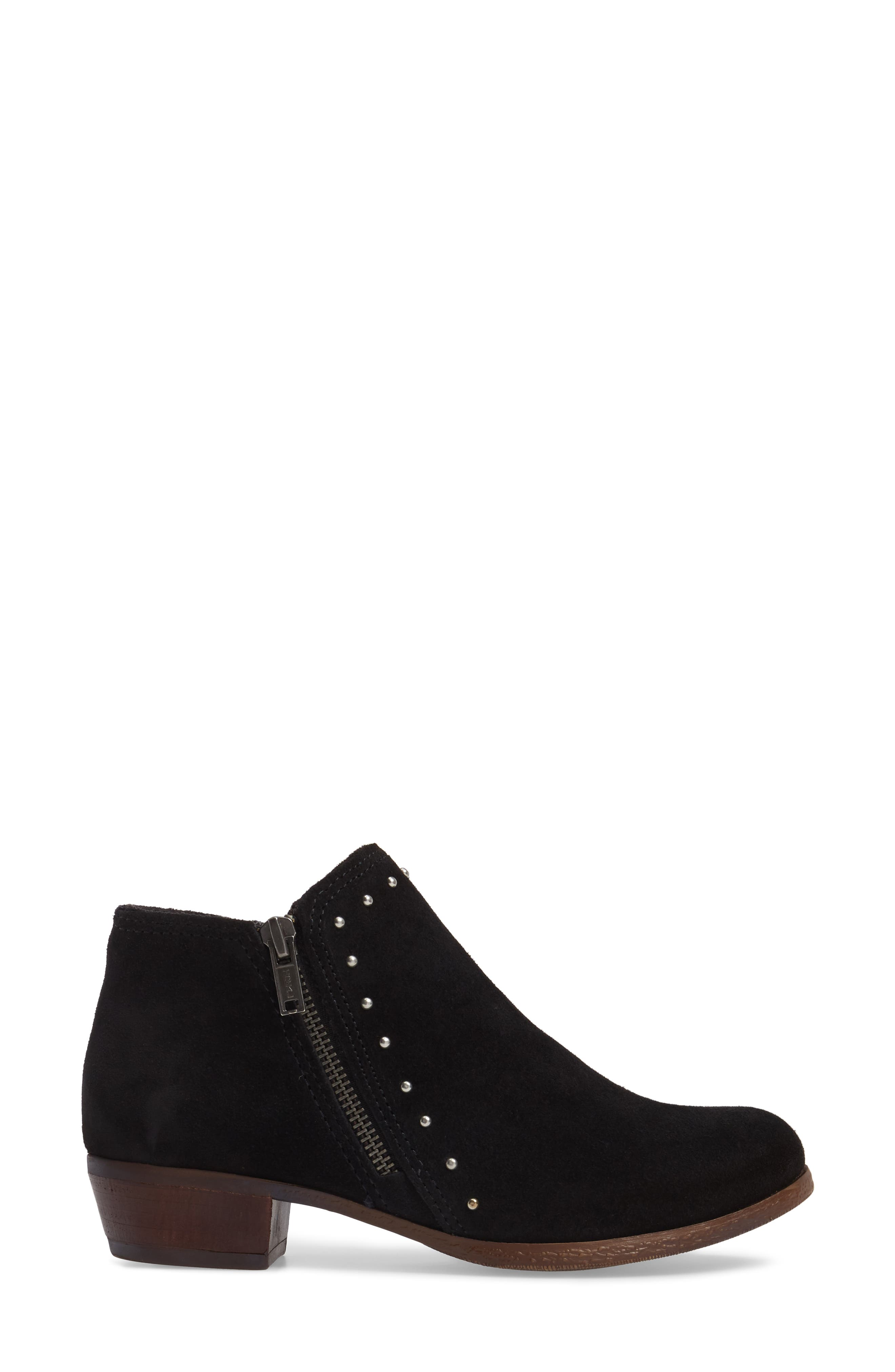 Brie Studded Bootie,                             Alternate thumbnail 3, color,                             BLACK