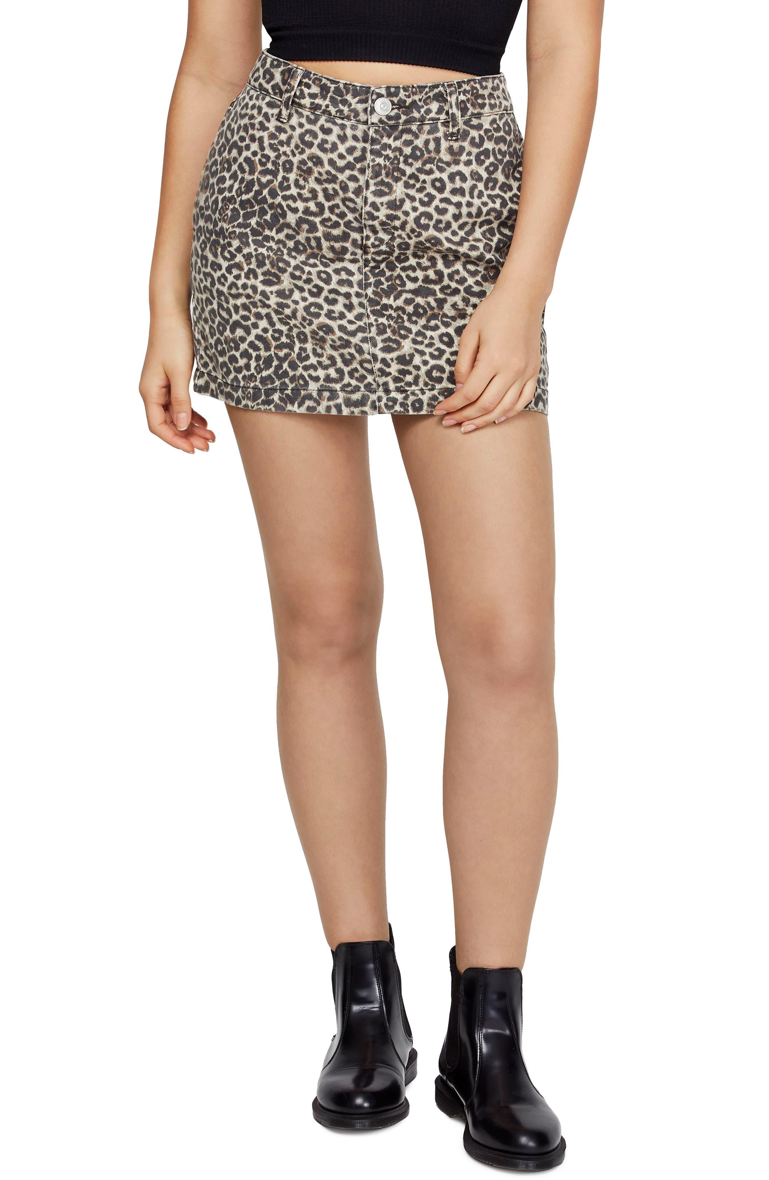 Bdg Urban Outfitters Leopard Twill Miniskirt, Brown