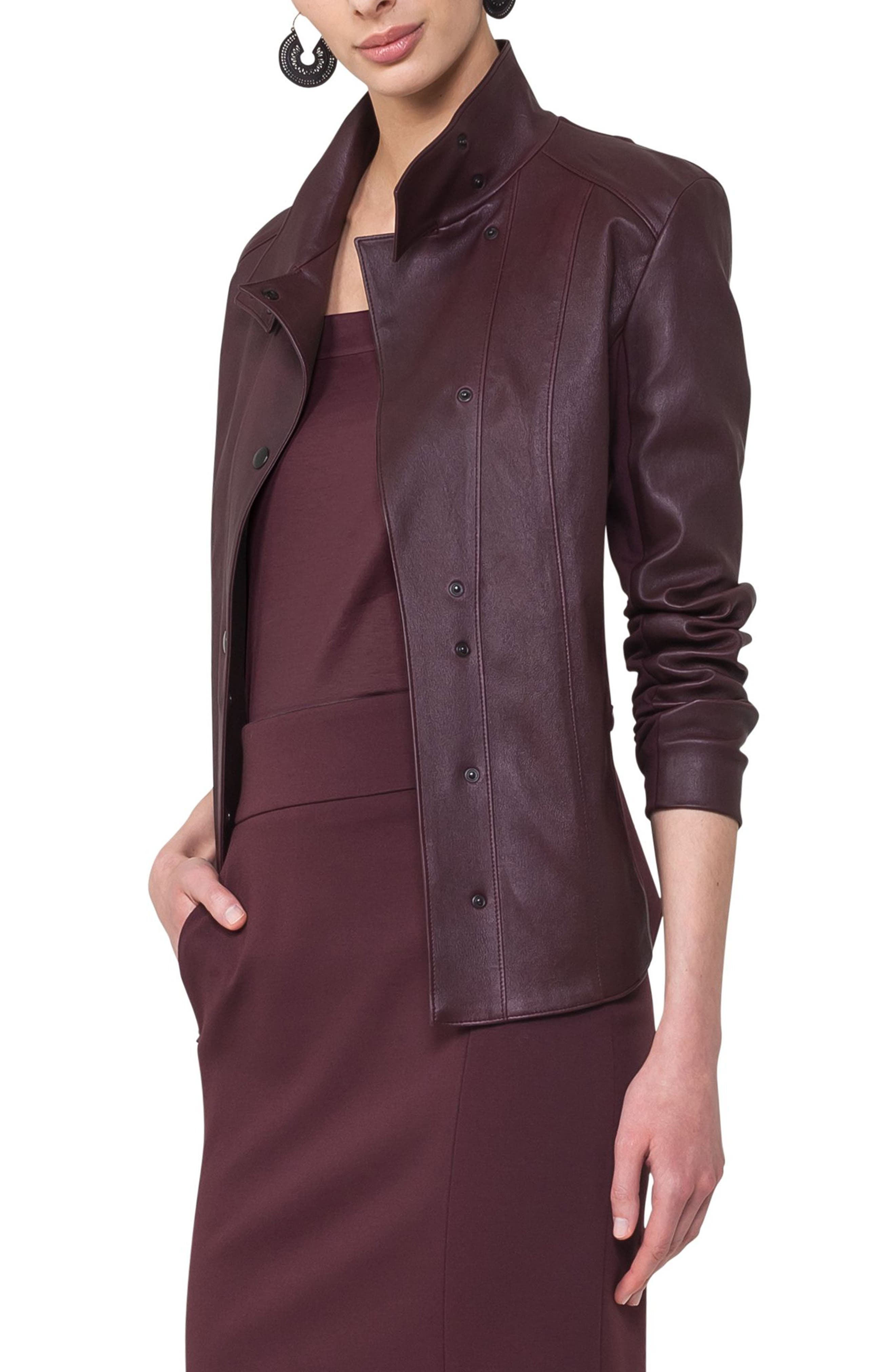 Leather Front Jacket,                             Alternate thumbnail 4, color,                             930