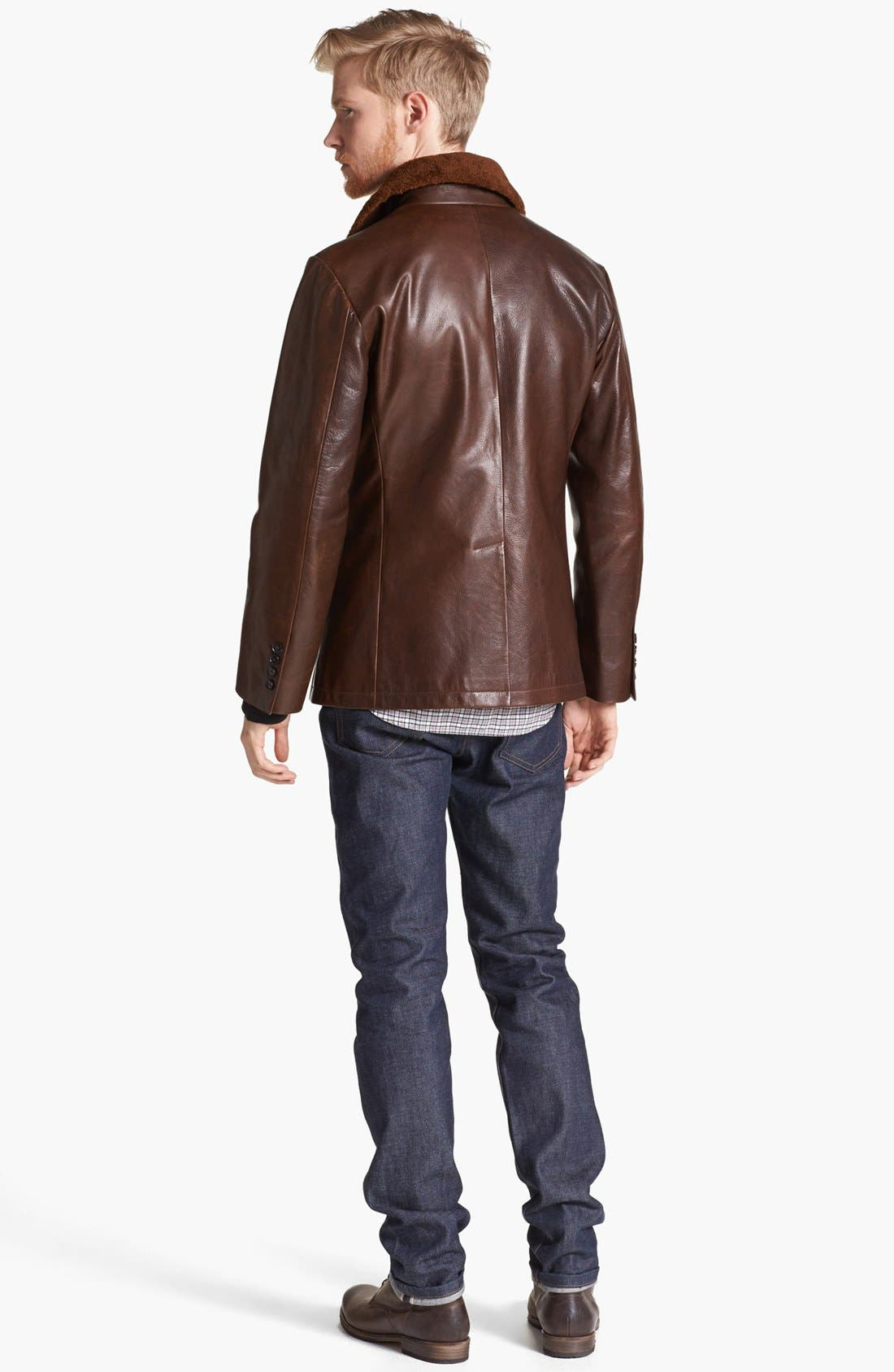 BILLY REID,                             Leather Peacoat with Genuine Shearling Collar,                             Alternate thumbnail 2, color,                             200