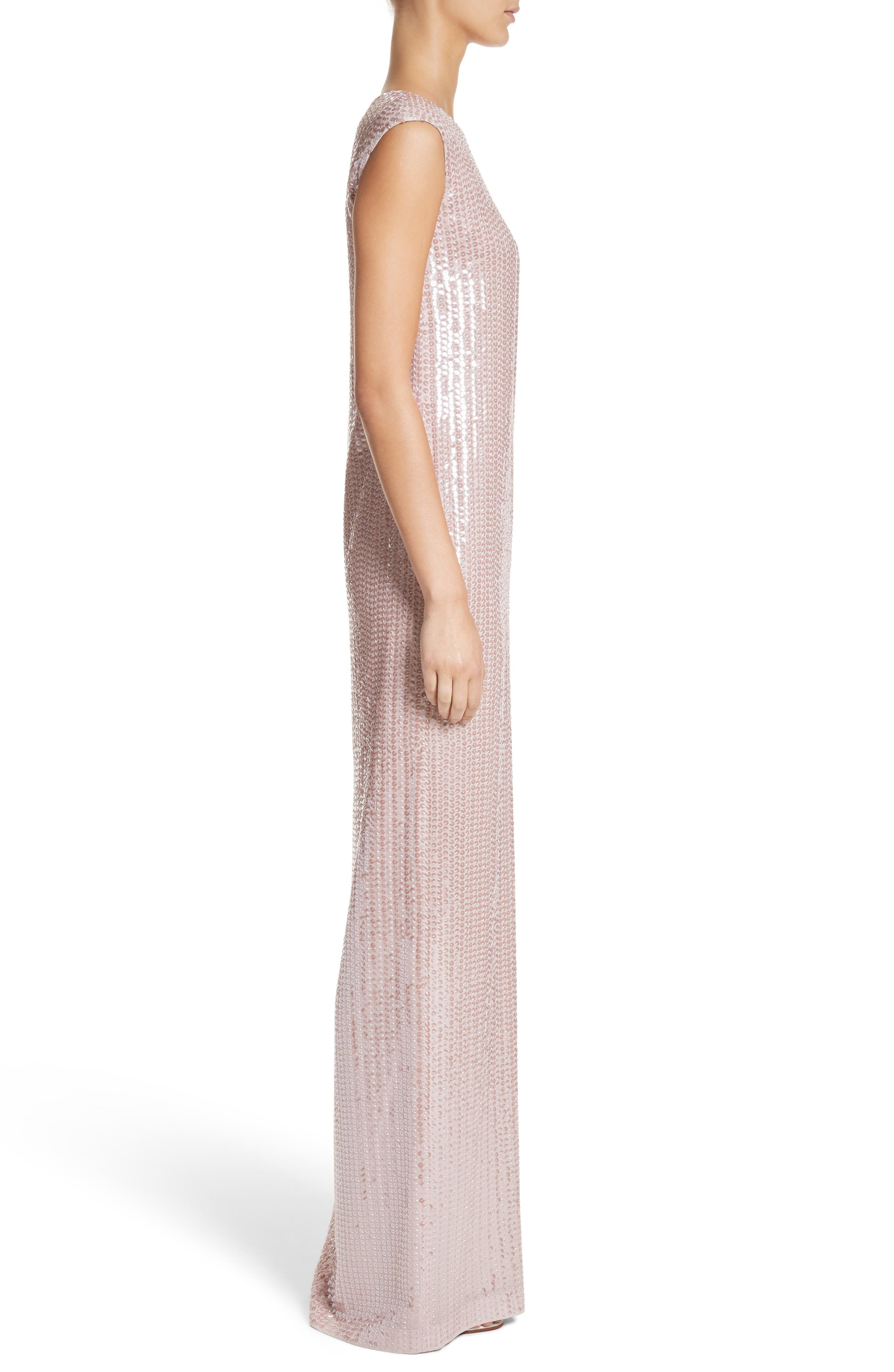 Sequin Silk Georgette Column Gown,                             Alternate thumbnail 3, color,                             680