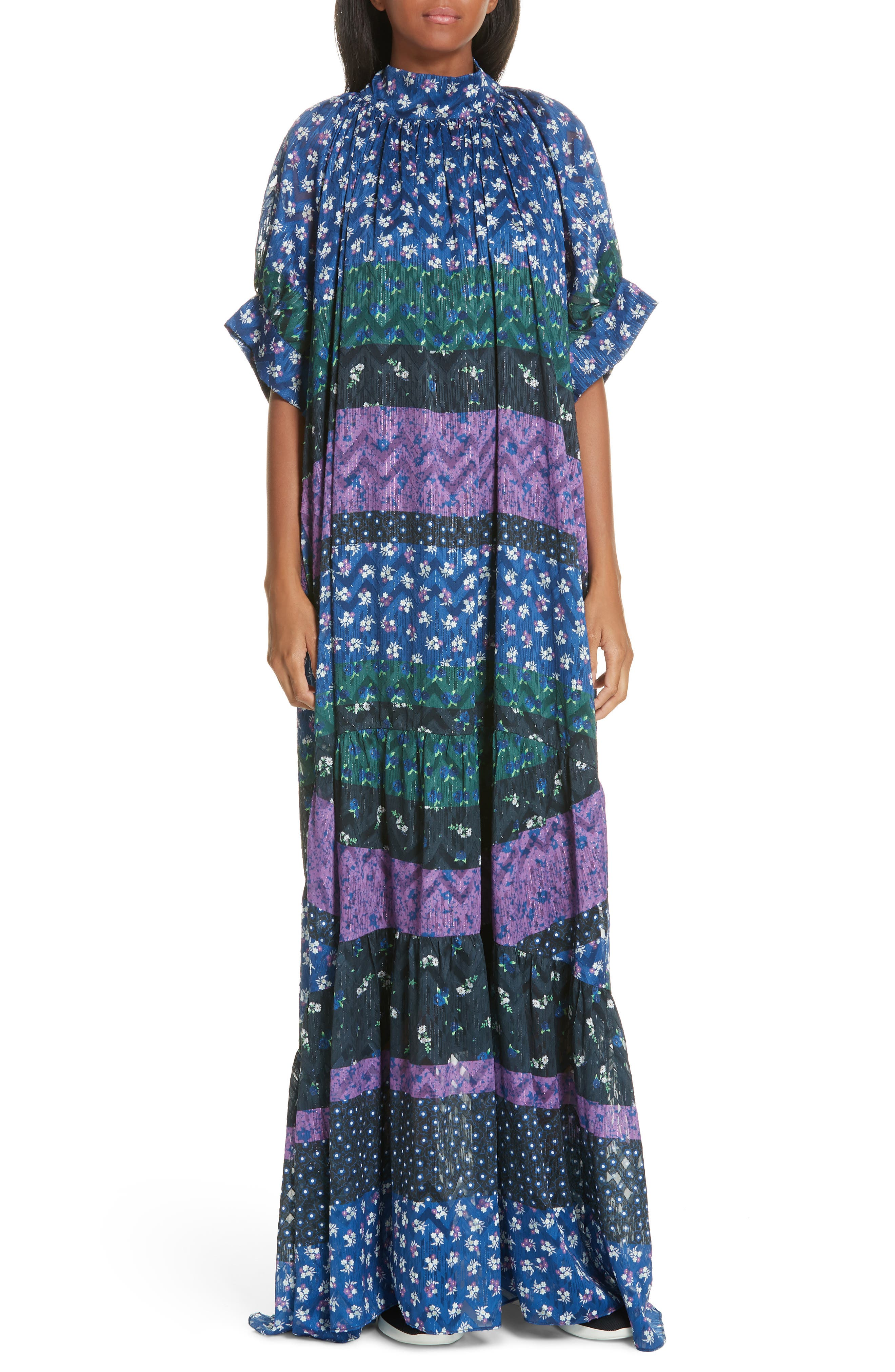Opening Ceremony Mixed Floral Print Maxi Dress, Blue