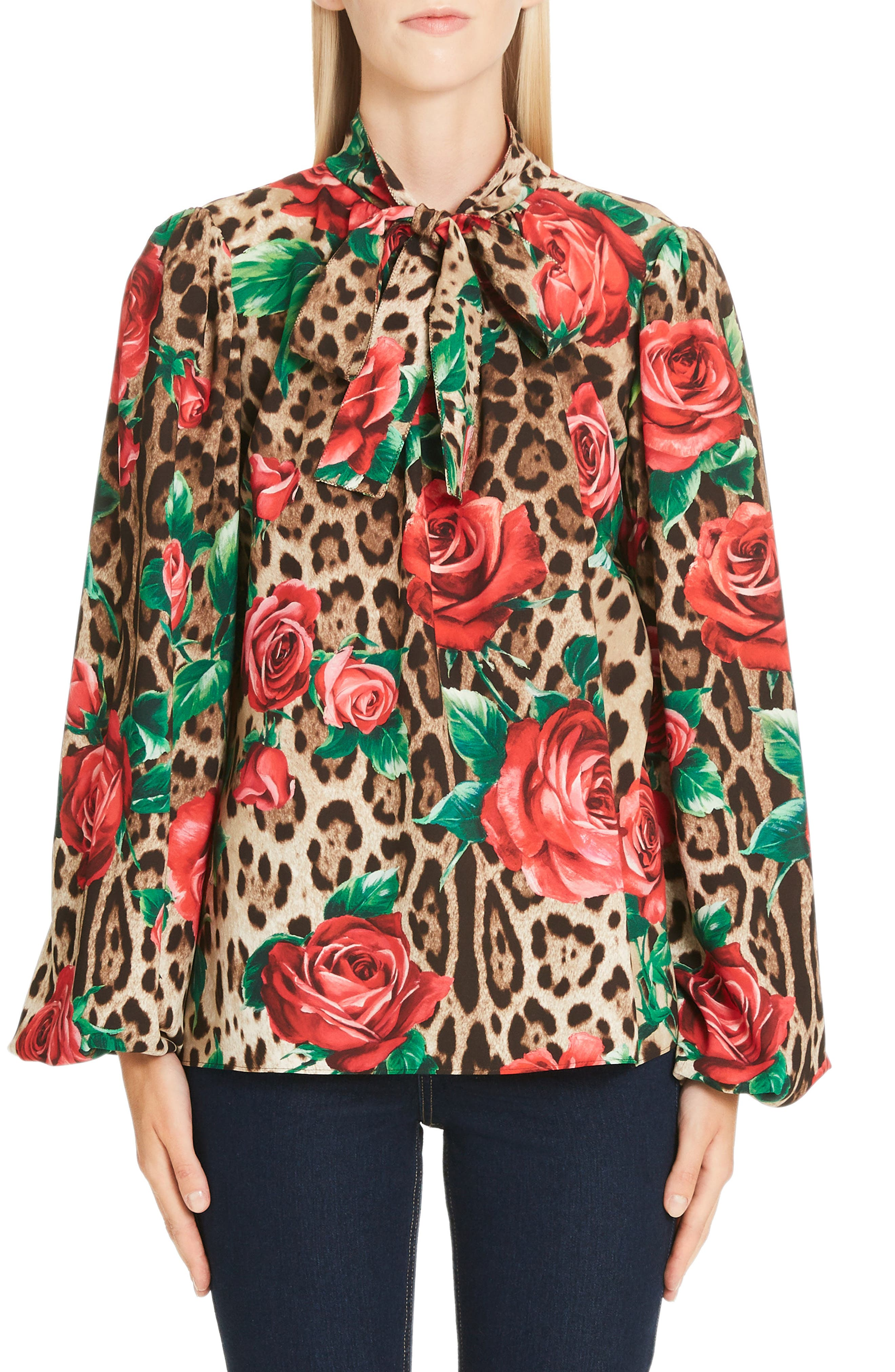 Rose & Leopard Print Tie Neck Stretch Silk Blouse,                             Main thumbnail 1, color,                             HKIRS ROSE LEO