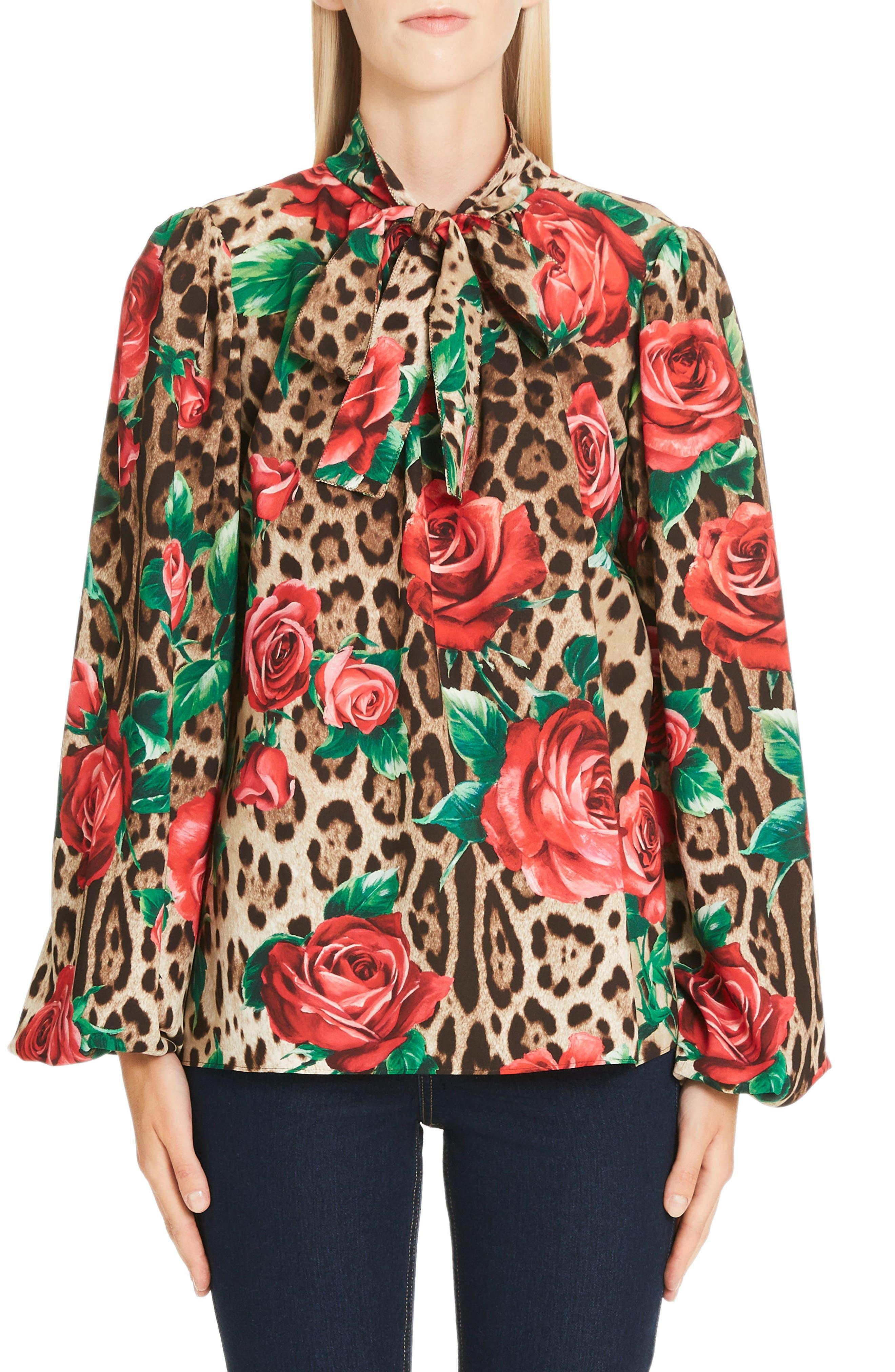 Rose & Leopard Print Tie Neck Stretch Silk Blouse, Main, color, HKIRS ROSE LEO