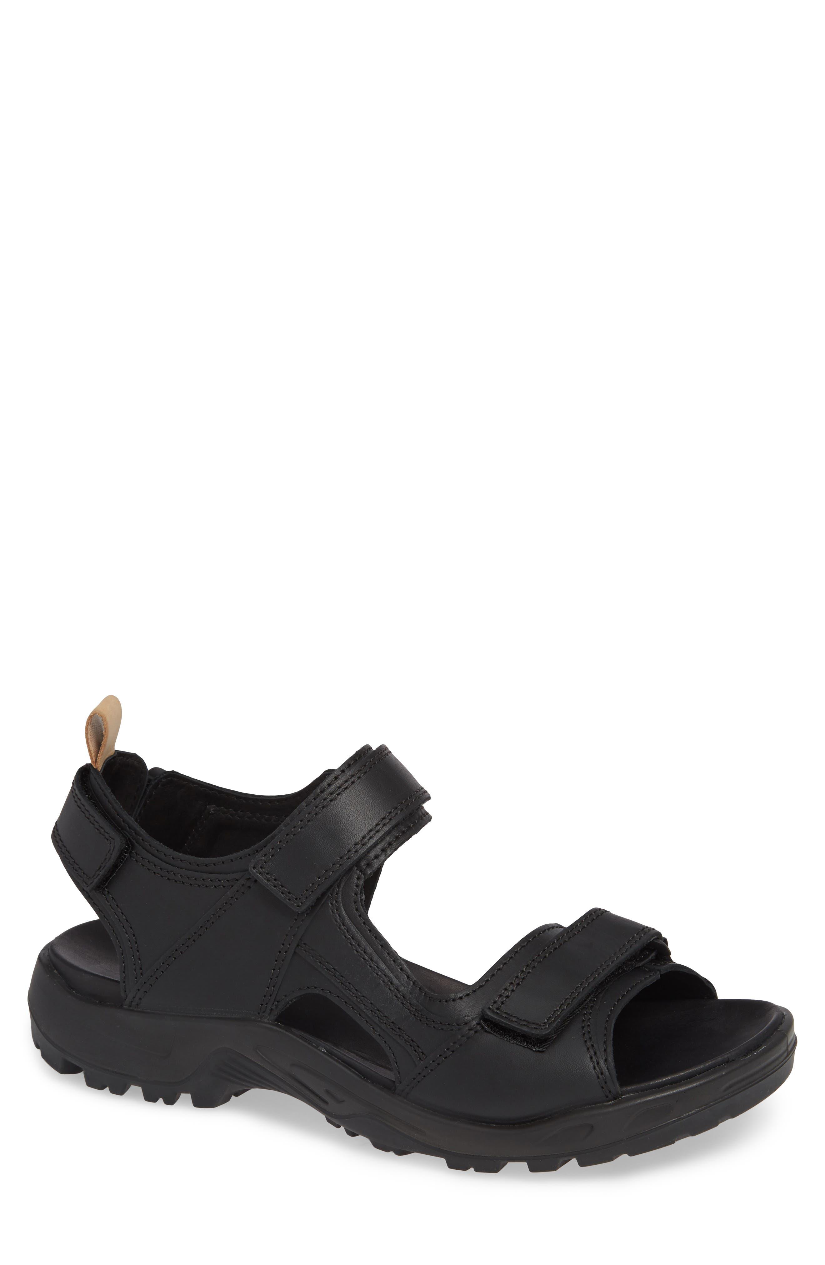 Premium Offroad Sandal,                         Main,                         color, BLACK LEATHER