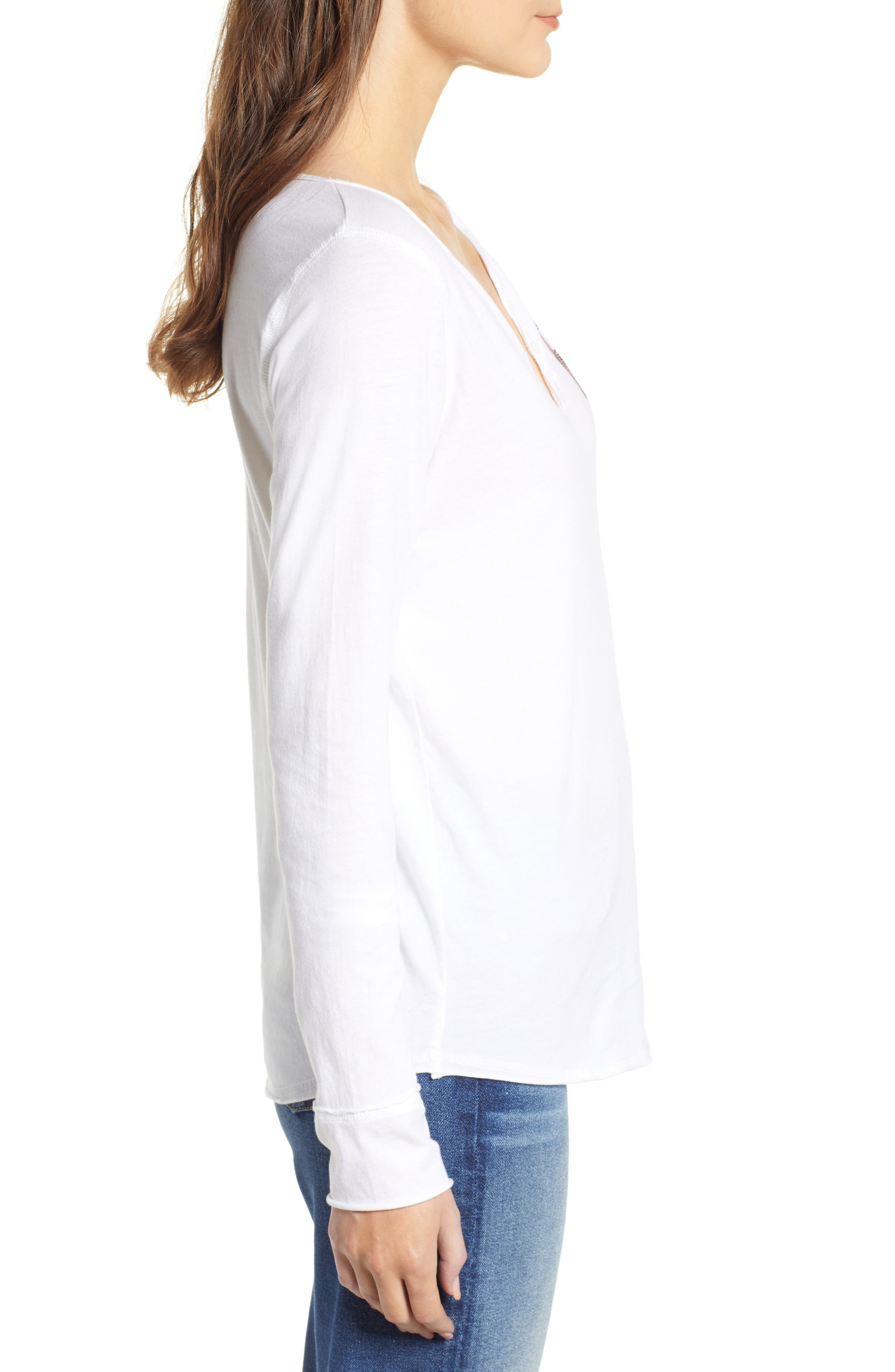 Crystal Heart Detail Split Neck Cotton Top,                             Alternate thumbnail 3, color,                             BLANC