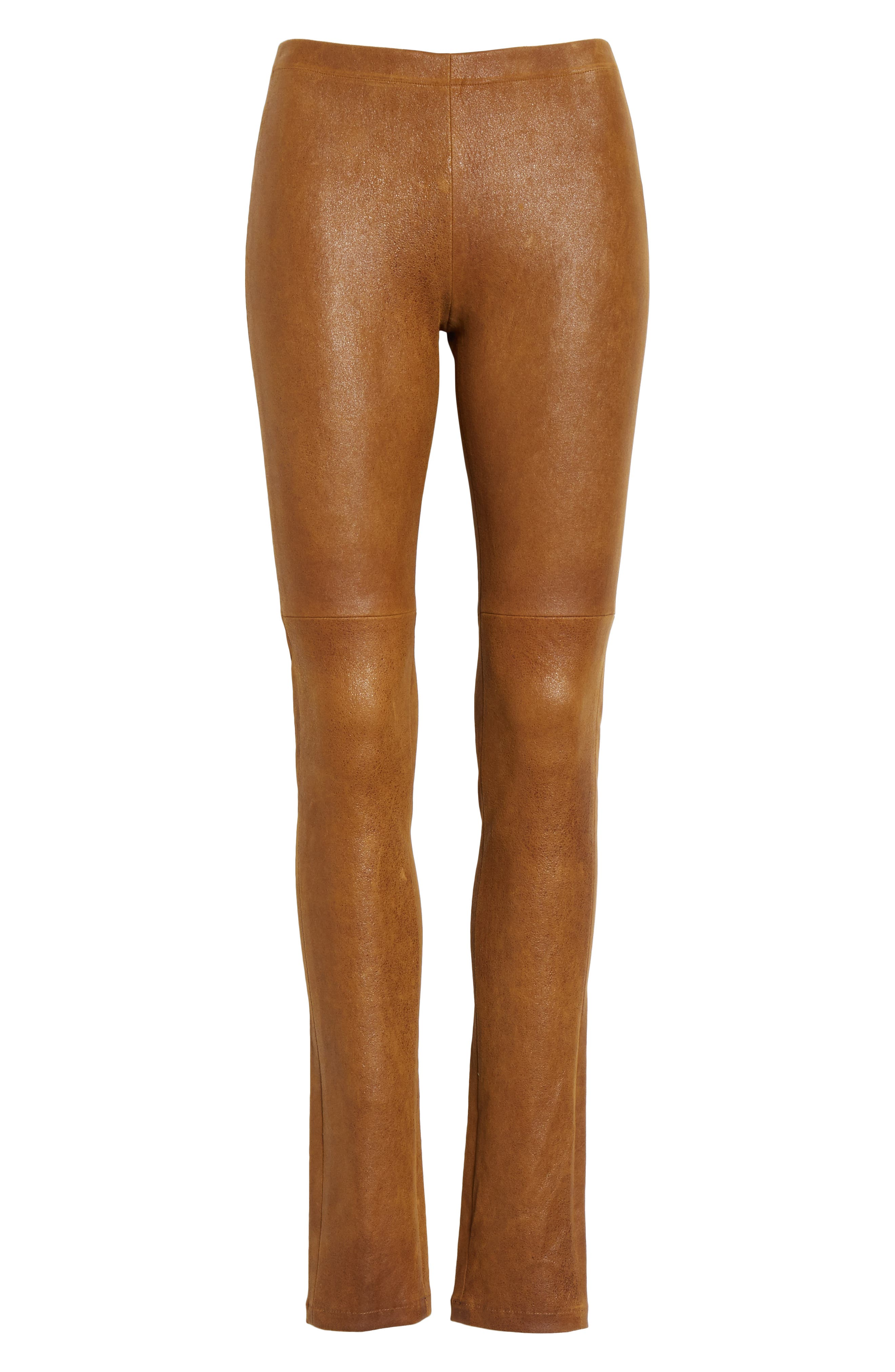 Esther Leather Leggings,                             Alternate thumbnail 6, color,                             CUMIN