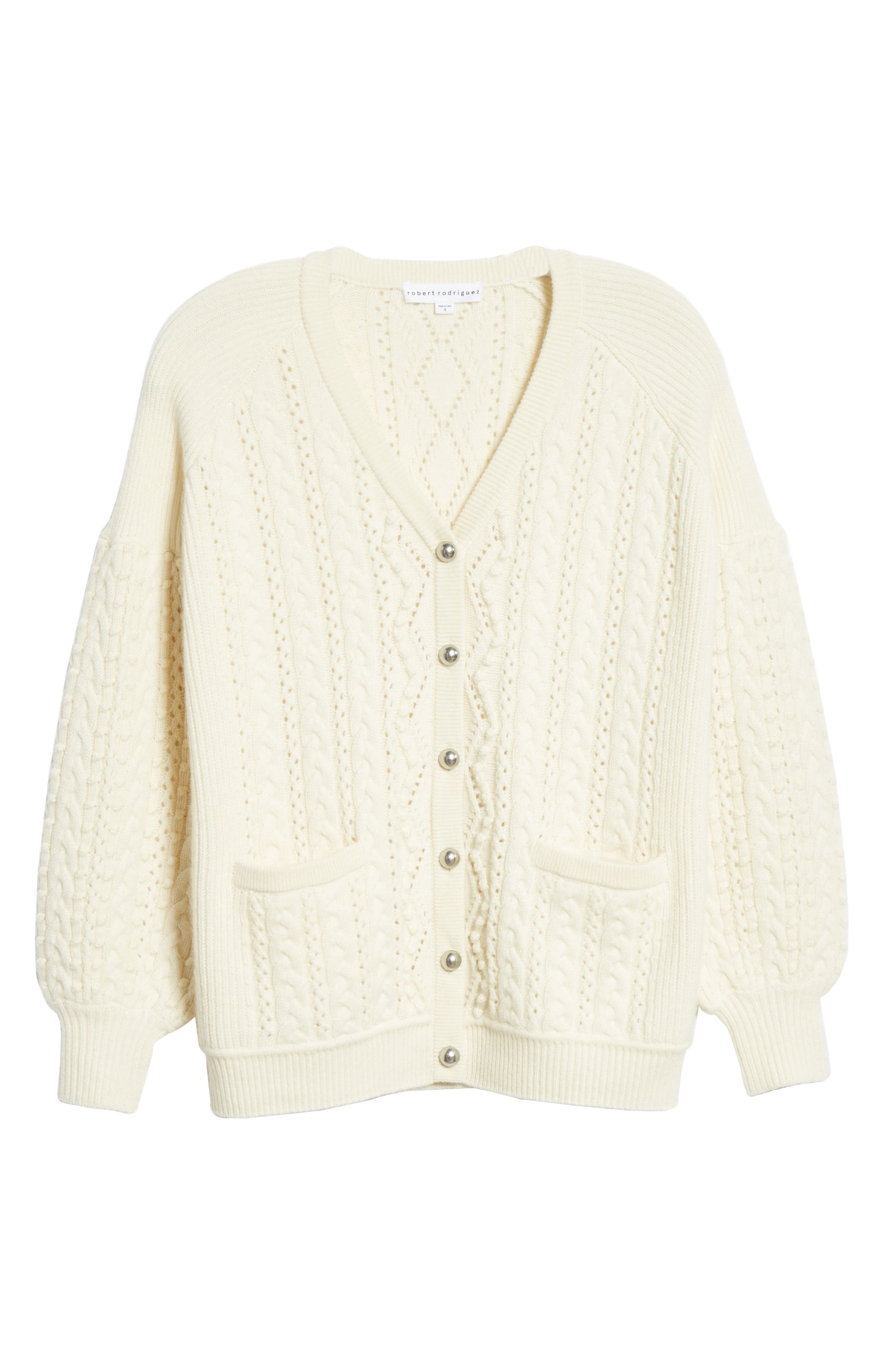 Cable Knit Wool & Cashmere Cardigan,                             Alternate thumbnail 6, color,                             IVORY