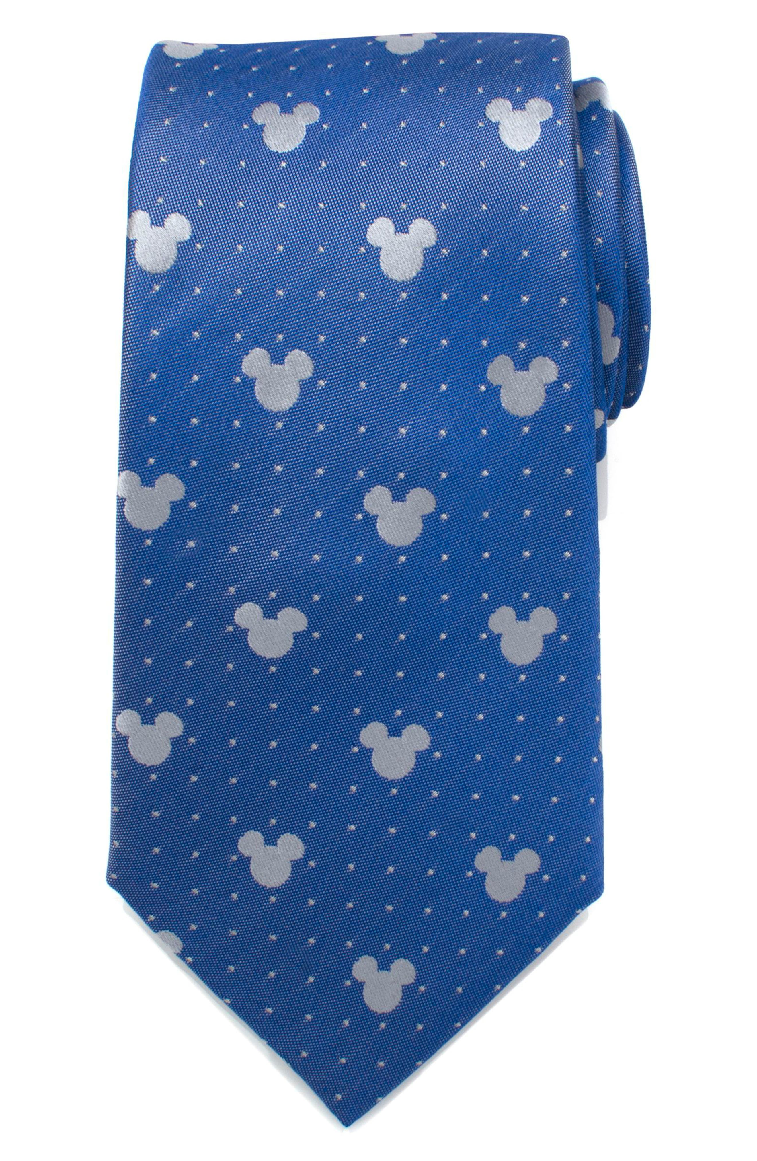 Mickey Mouse Pin Dot Silk Tie,                             Main thumbnail 1, color,                             BLUE/ GREY