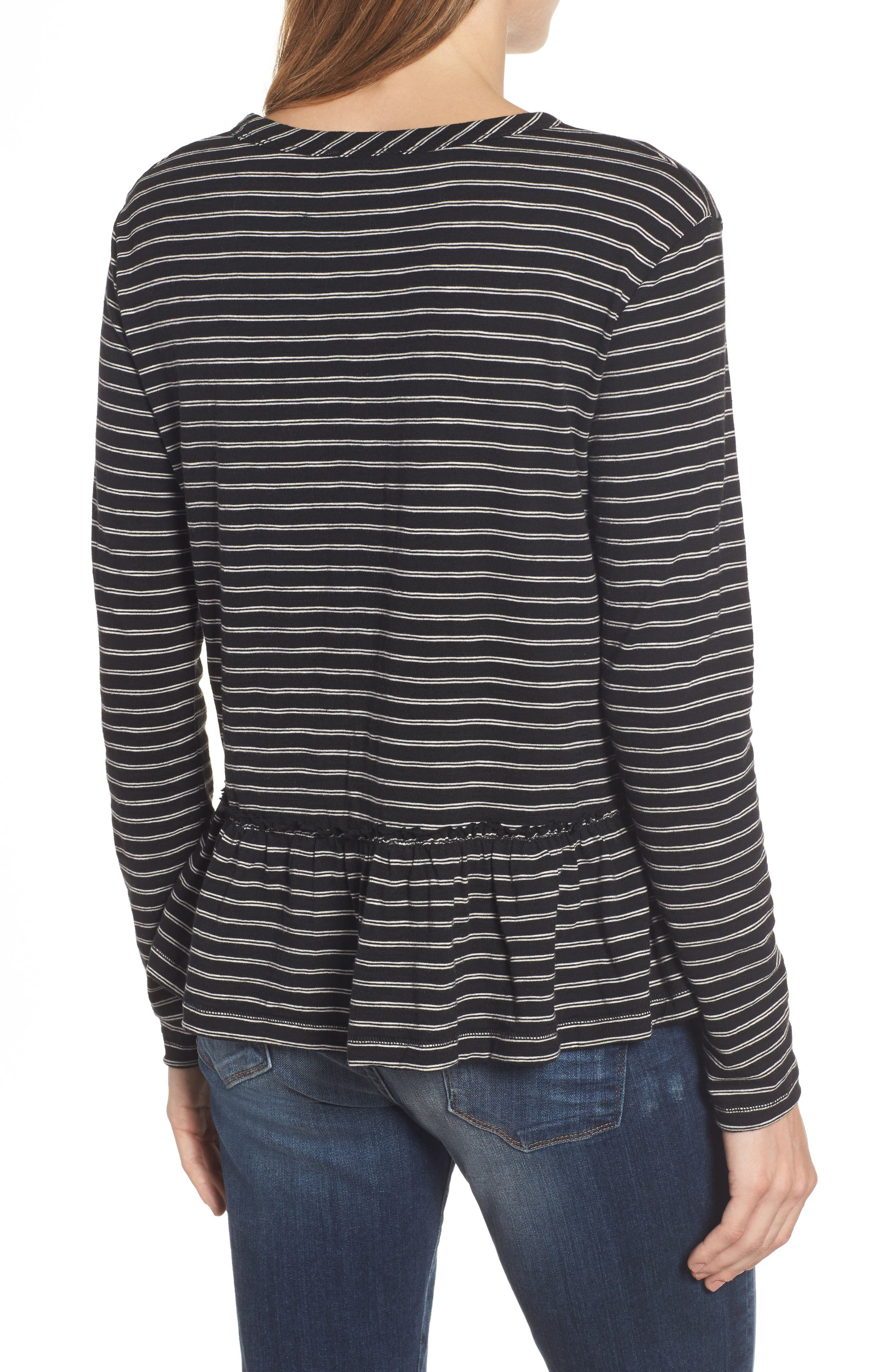 CASLON<SUP>®</SUP>, Peplum Tee, Alternate thumbnail 2, color, BLACK- BEIGE STRIPE