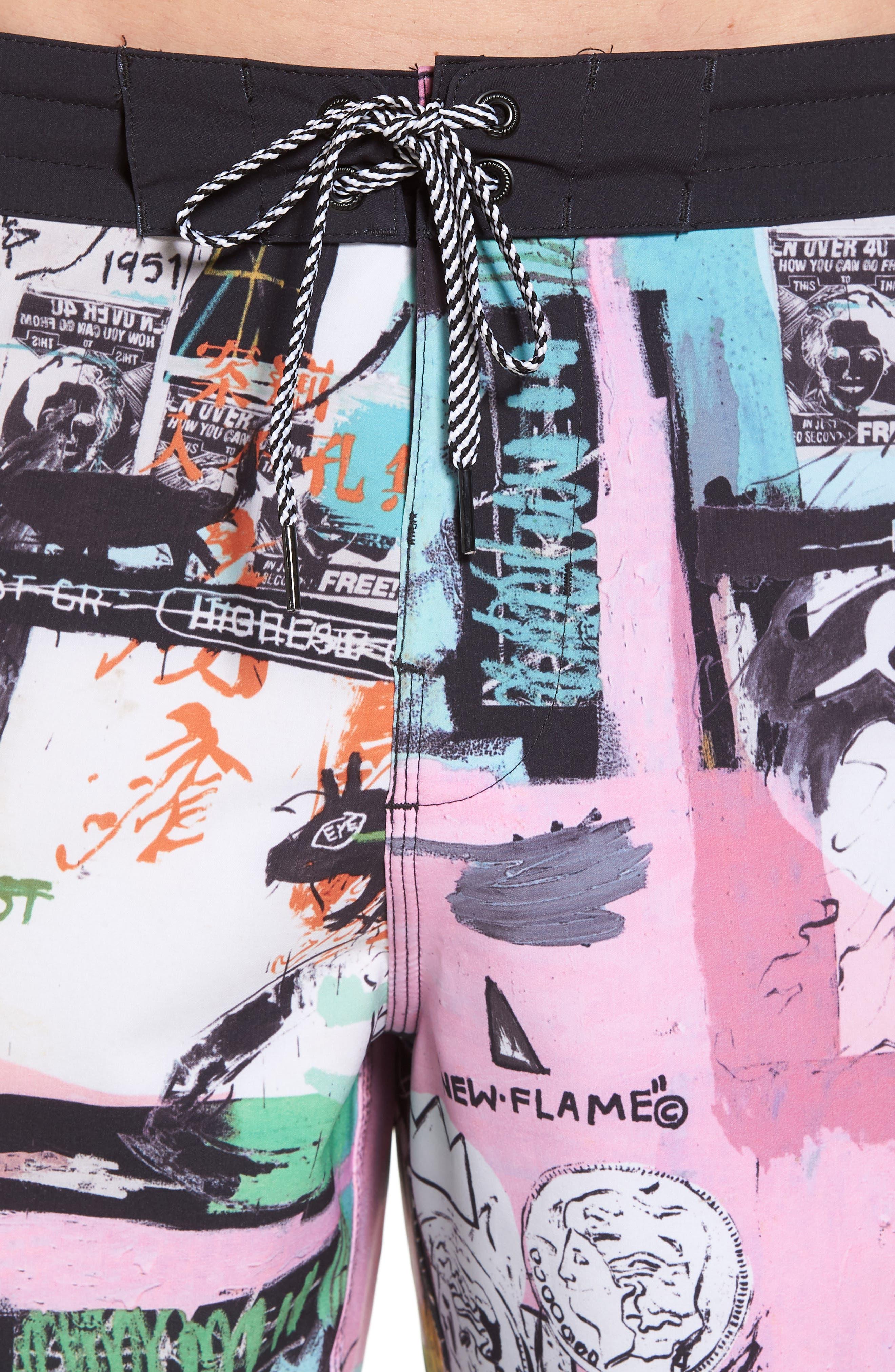 x Warhol Factory X Board Shorts,                             Alternate thumbnail 4, color,                             100