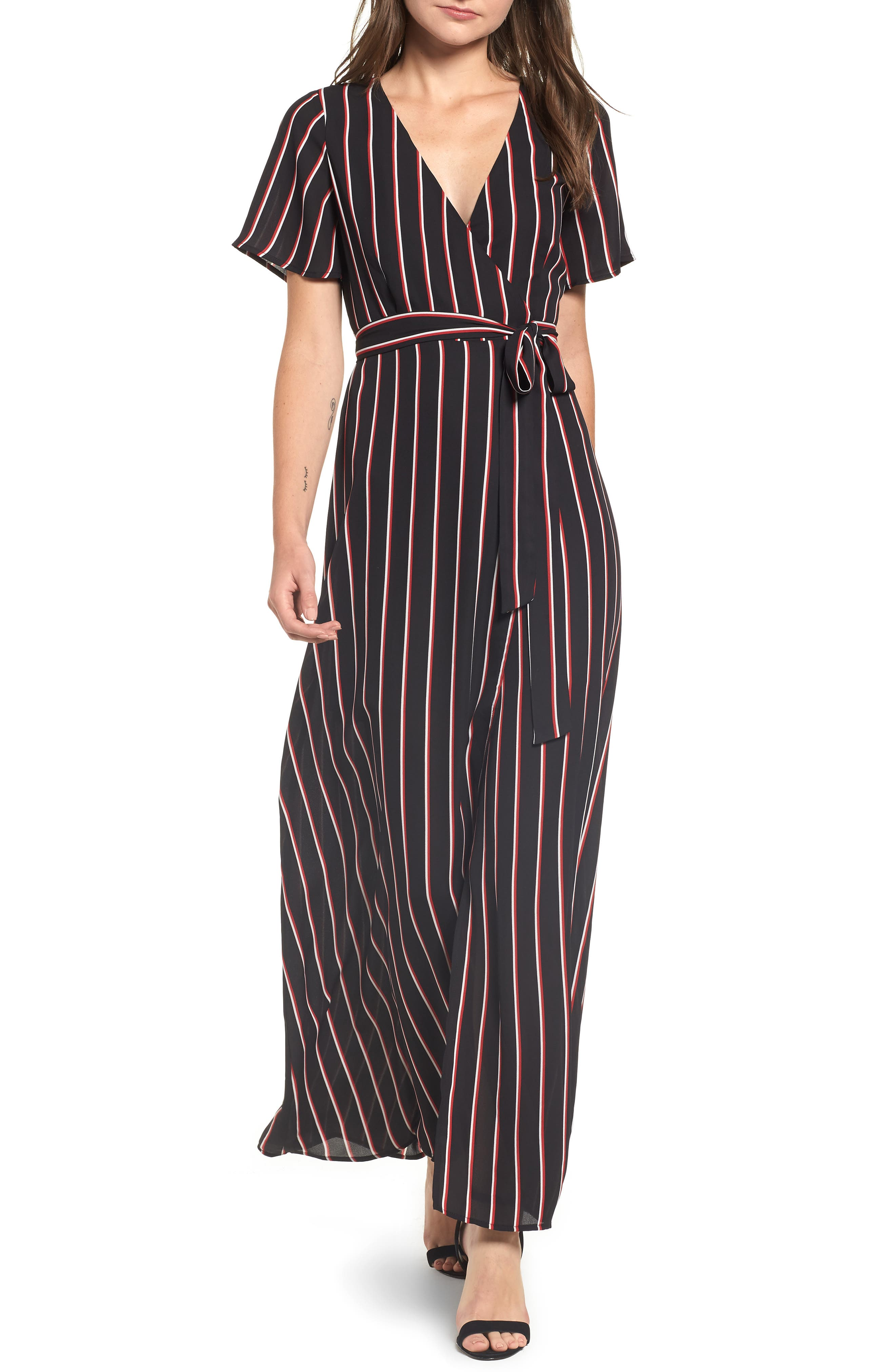 Wrap Maxi Dress,                         Main,                         color, BLACK DOUBLE STRIPE