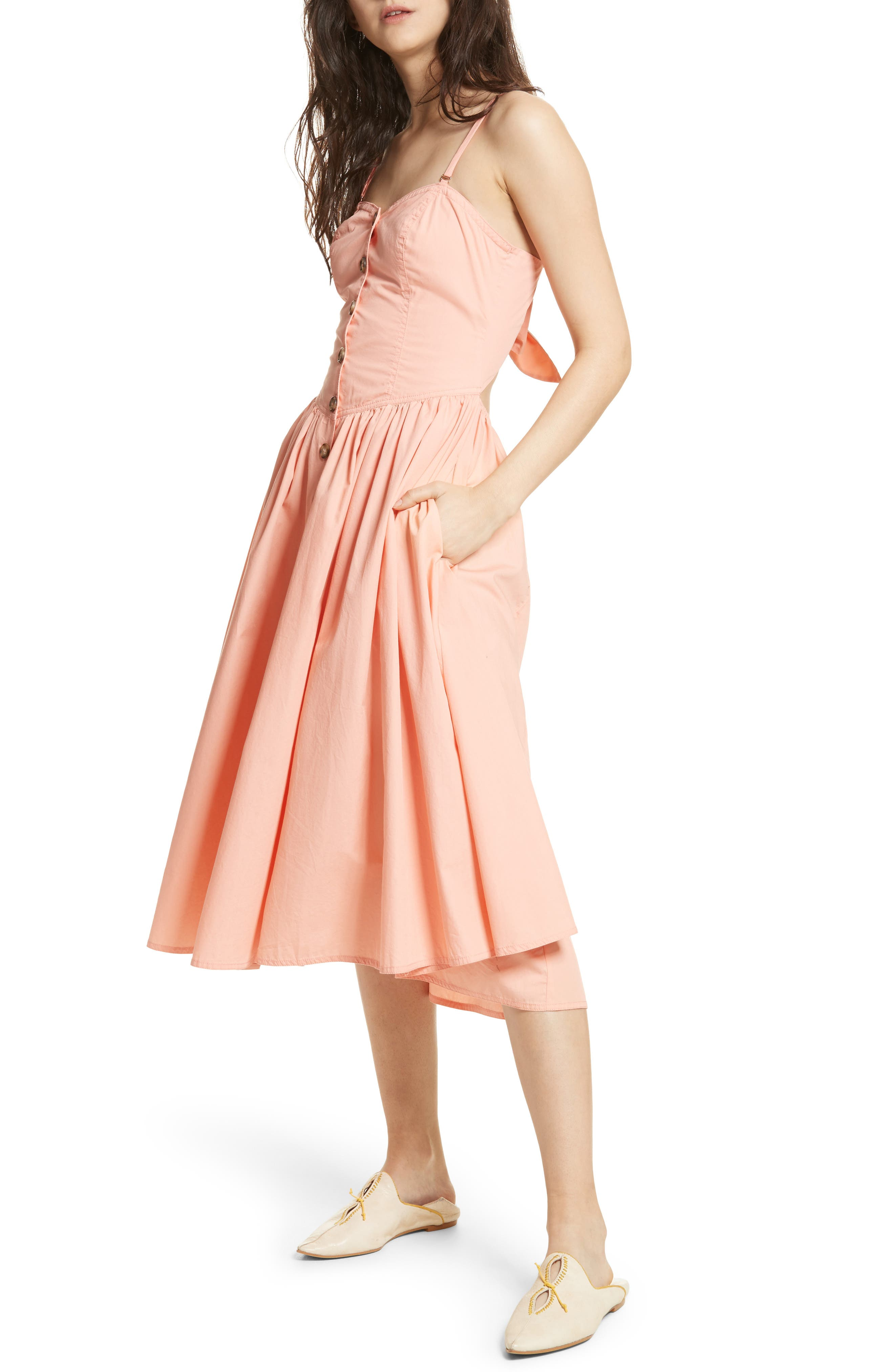 Perfect Peach Poplin Midi Dress,                             Main thumbnail 3, color,