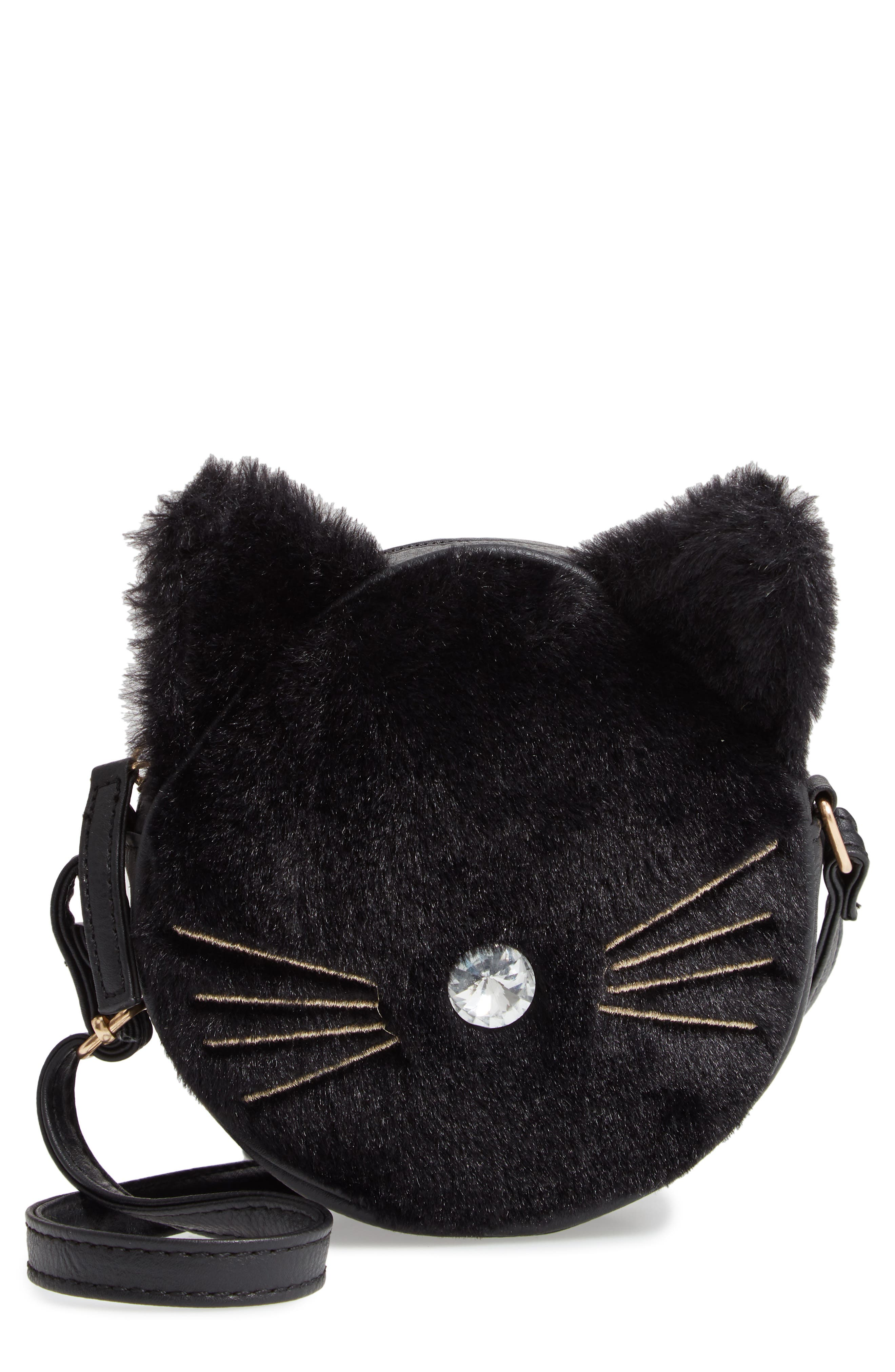 Faux Fur Kitty Crossbody Bag,                             Main thumbnail 1, color,                             001