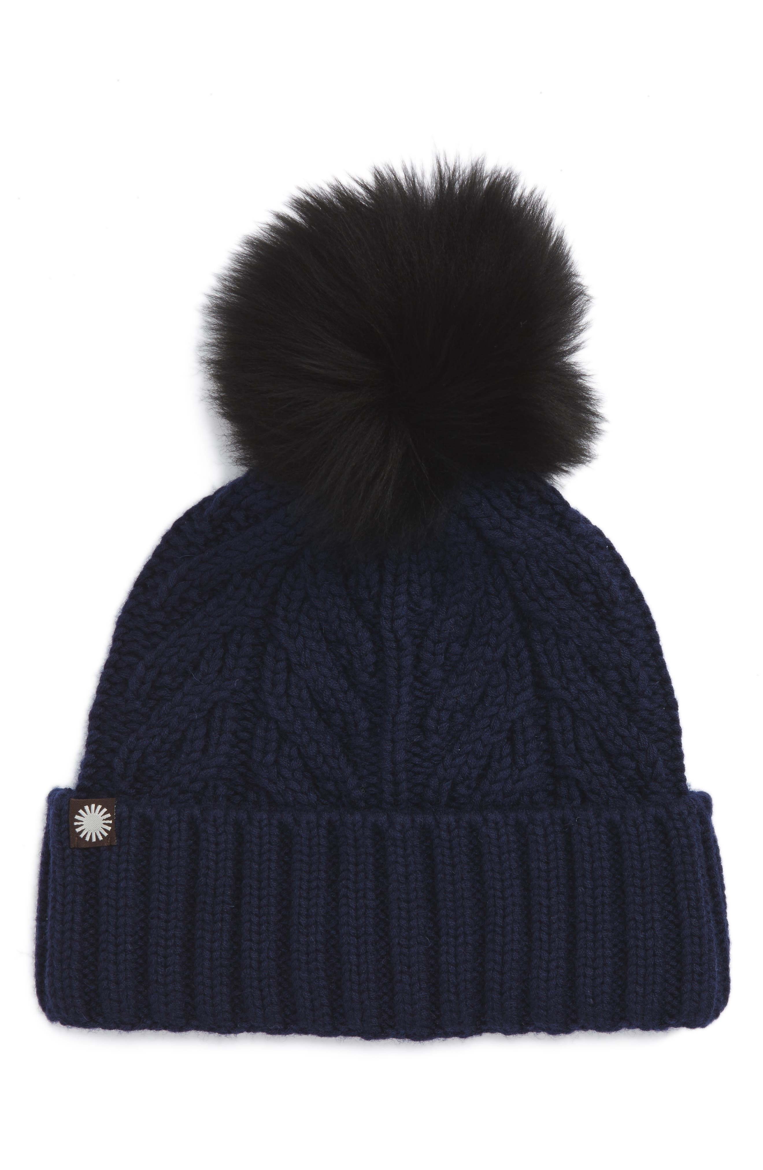 UGG<sup>®</sup> Cable Knit Cuff Hat with Genuine Shearling Pom,                             Main thumbnail 3, color,
