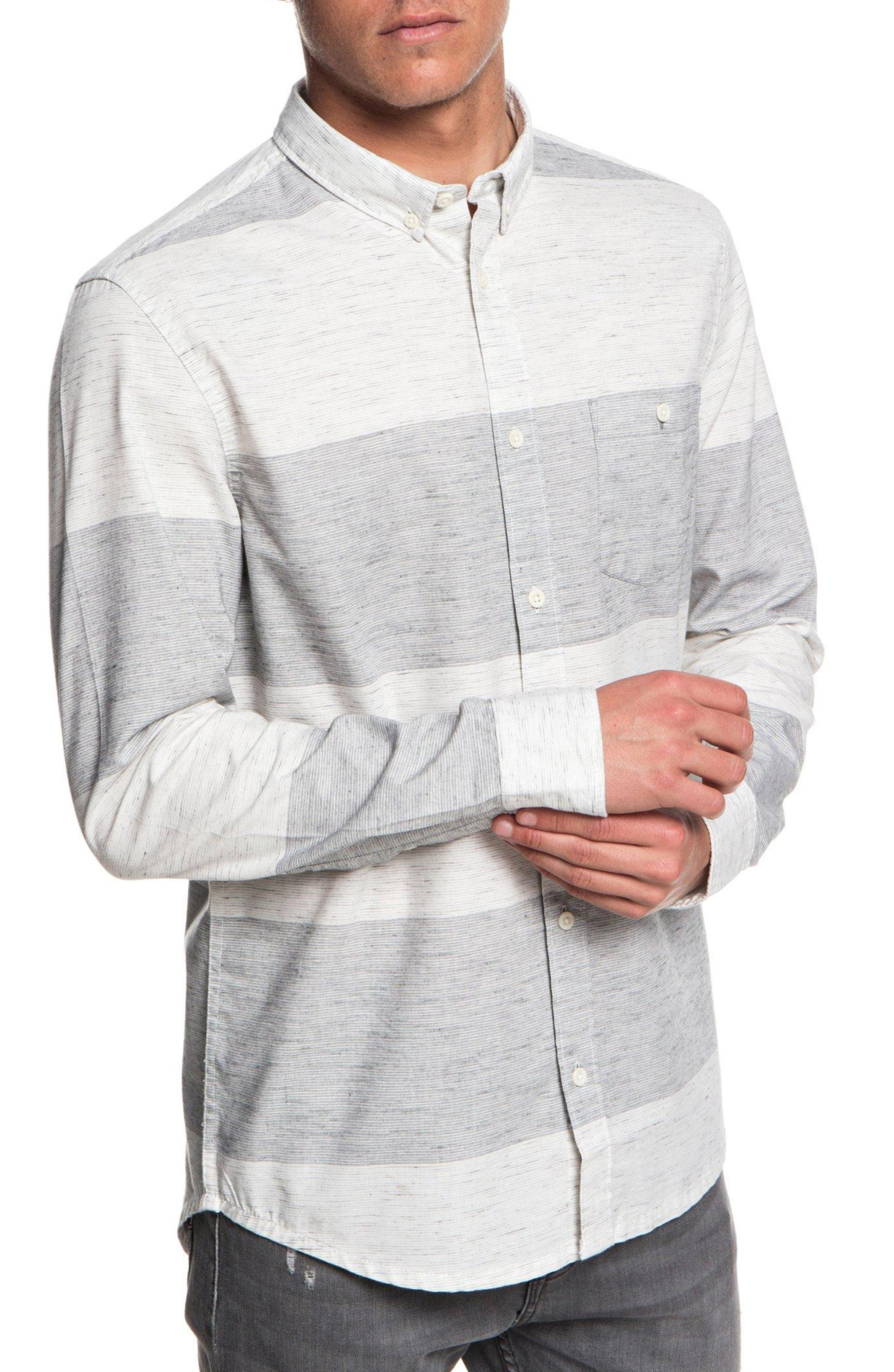 Minoo Valley Striped Shirt,                         Main,                         color, IRON GATE MARBLE NEPPY