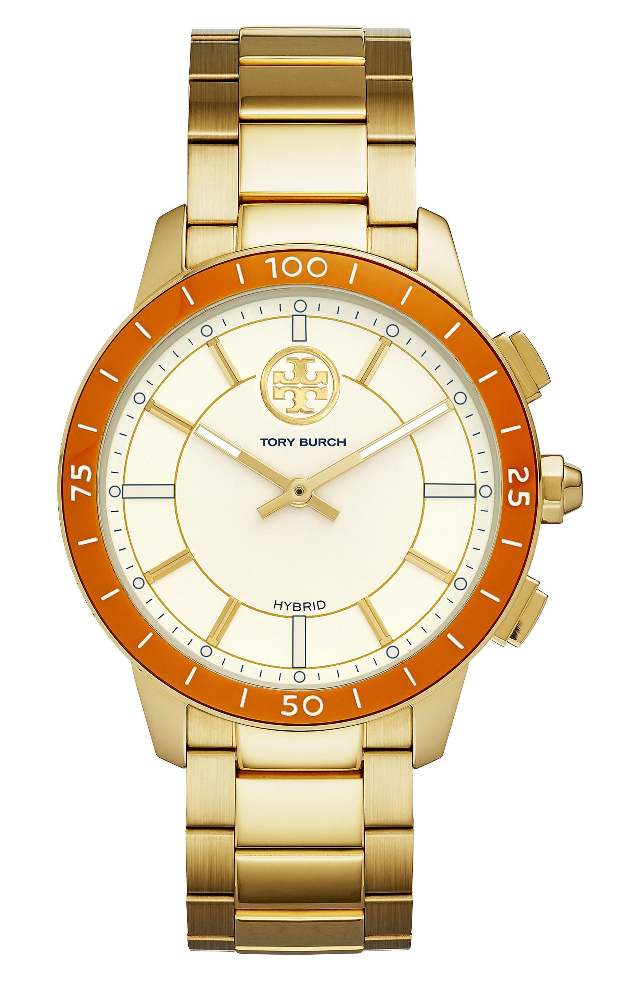 Collins Hybrid Bracelet Watch, 38mm,                             Main thumbnail 1, color,                             GOLD/ CREAM/ ORANGE