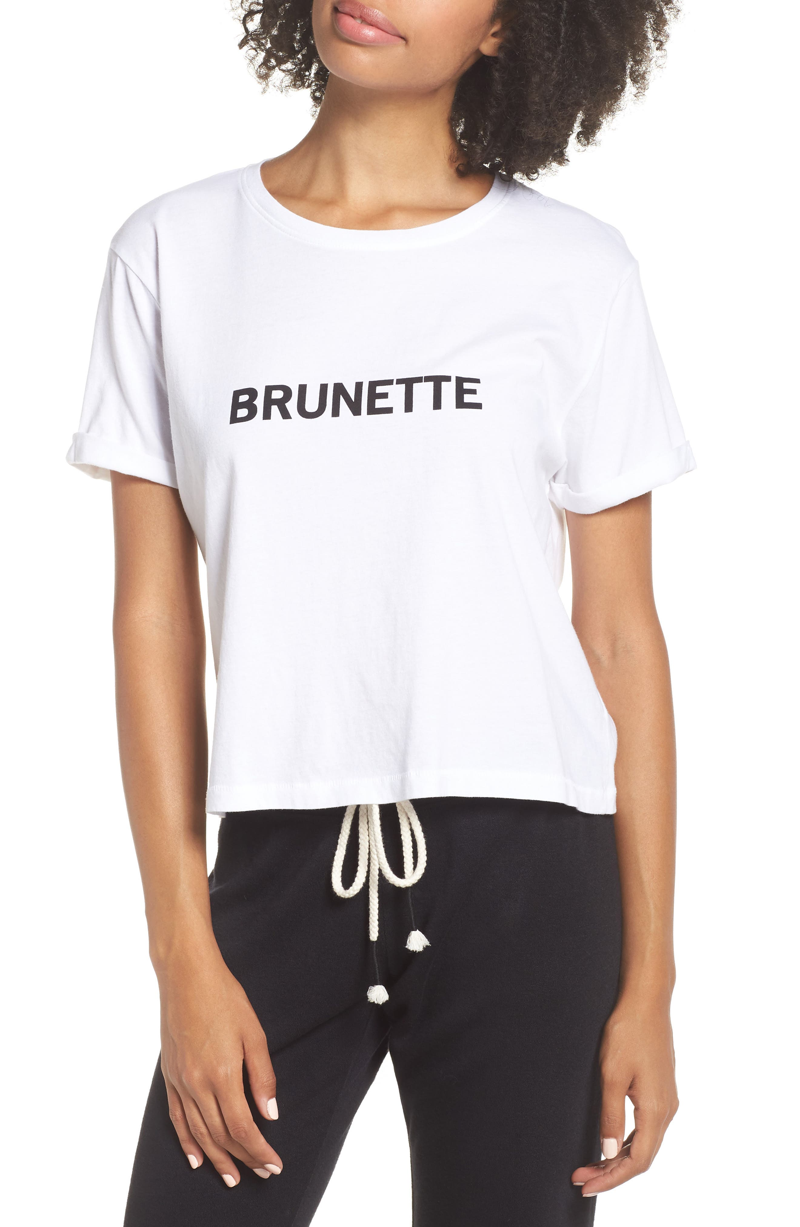 Brunette Crop Tee,                         Main,                         color, WHITE