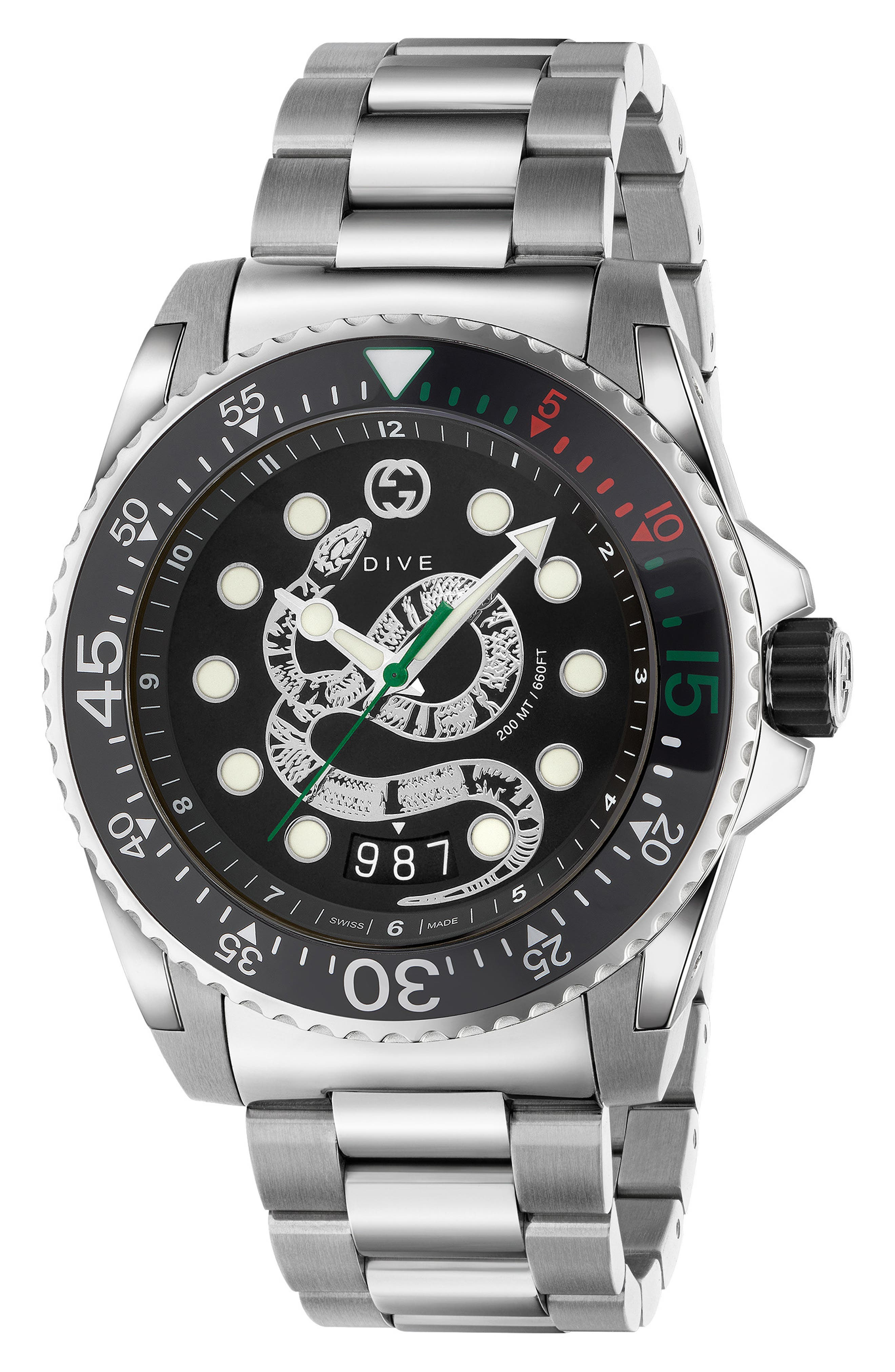 GUCCI Dive Watch, 45mm, Main, color, SILVER/ BLACK/ SILVER