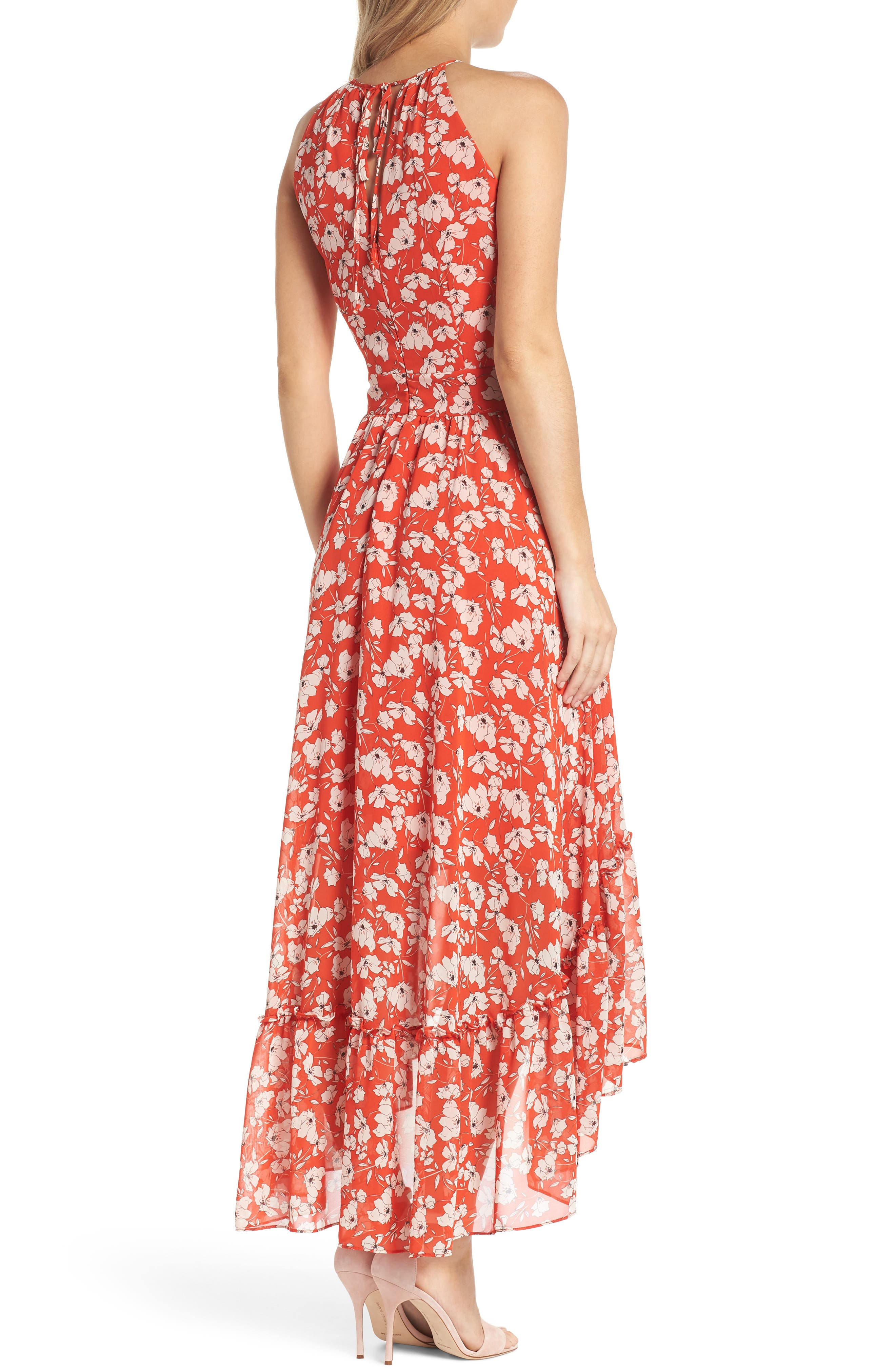 Ruffle Hem Halter Neck Chiffon Dress,                             Alternate thumbnail 2, color,                             612