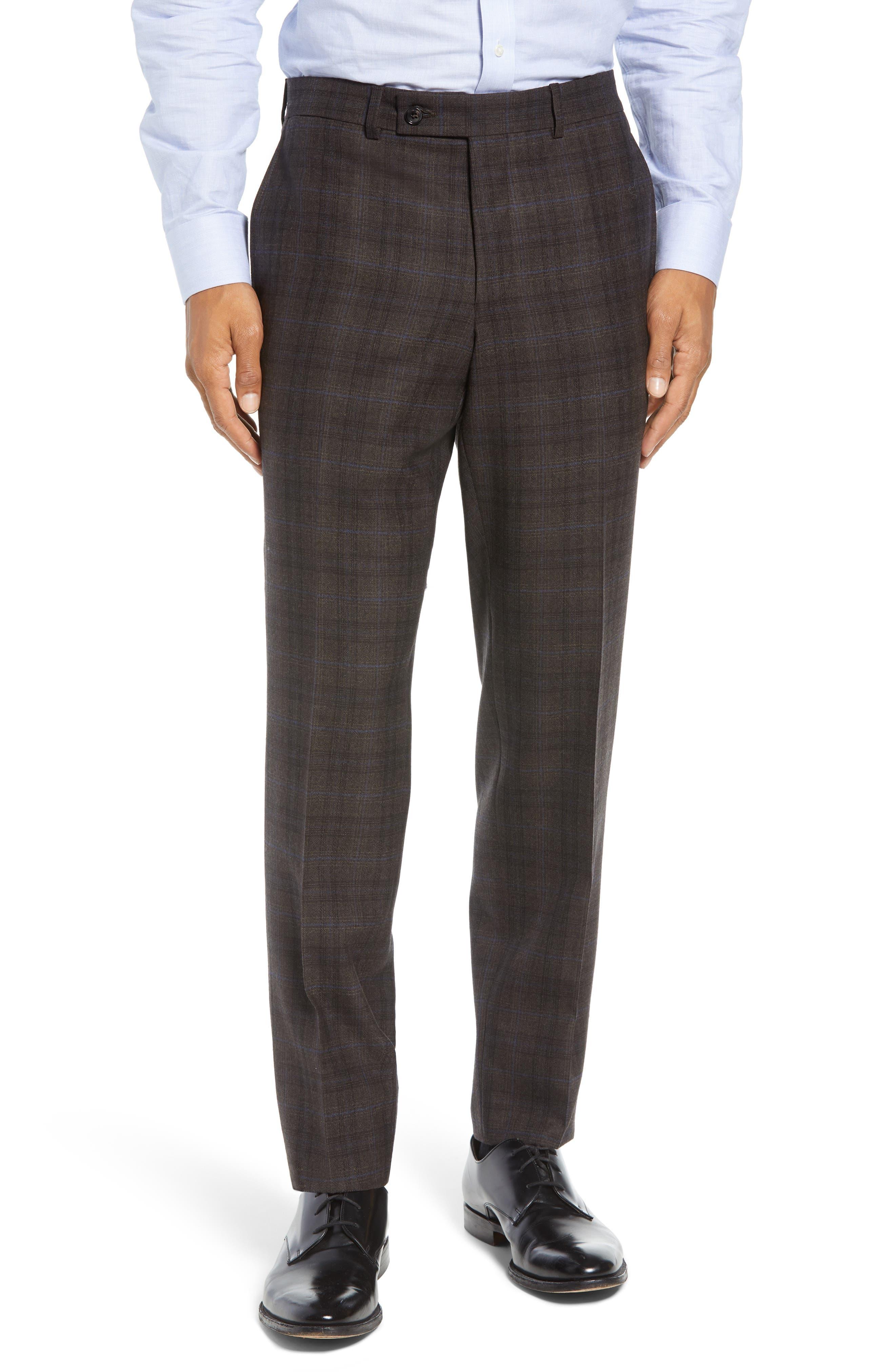 Jay Trim Fit Plaid Wool Suit,                             Alternate thumbnail 6, color,                             BROWN PLAID