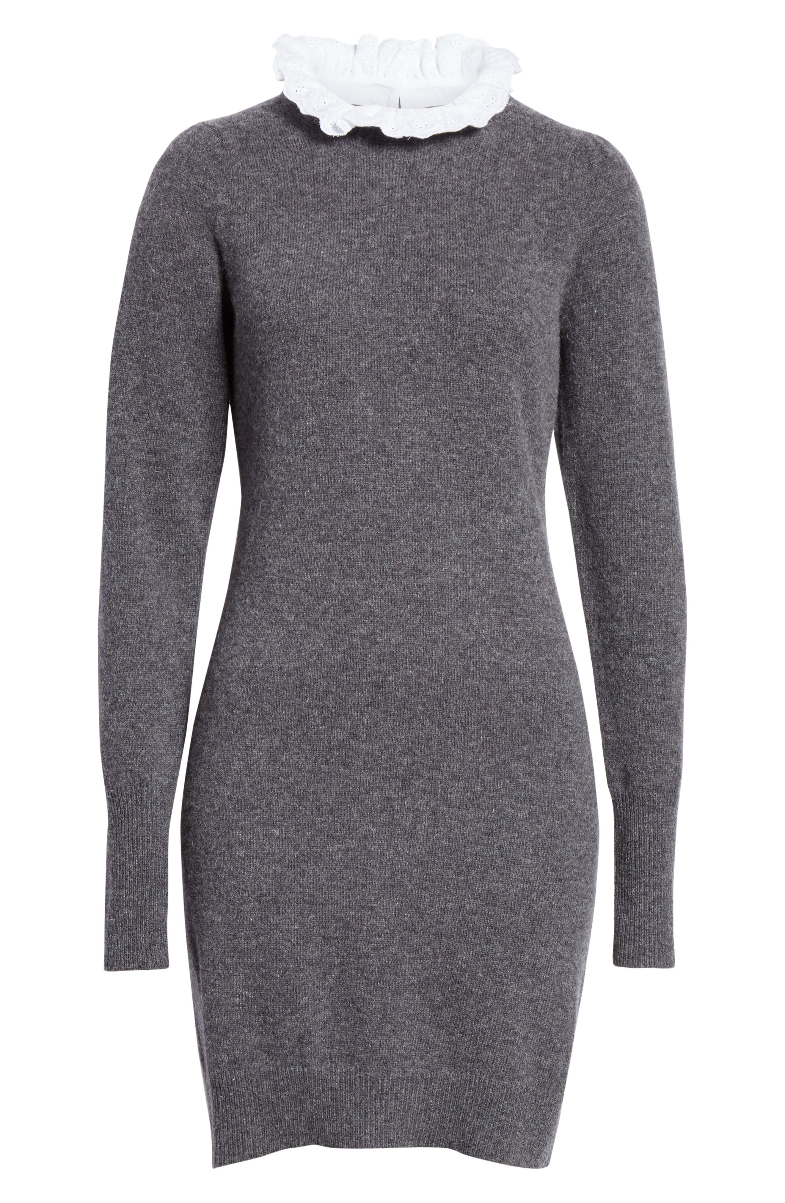 Ancolie Eyelet Collar Sweater Dress,                             Alternate thumbnail 6, color,                             020