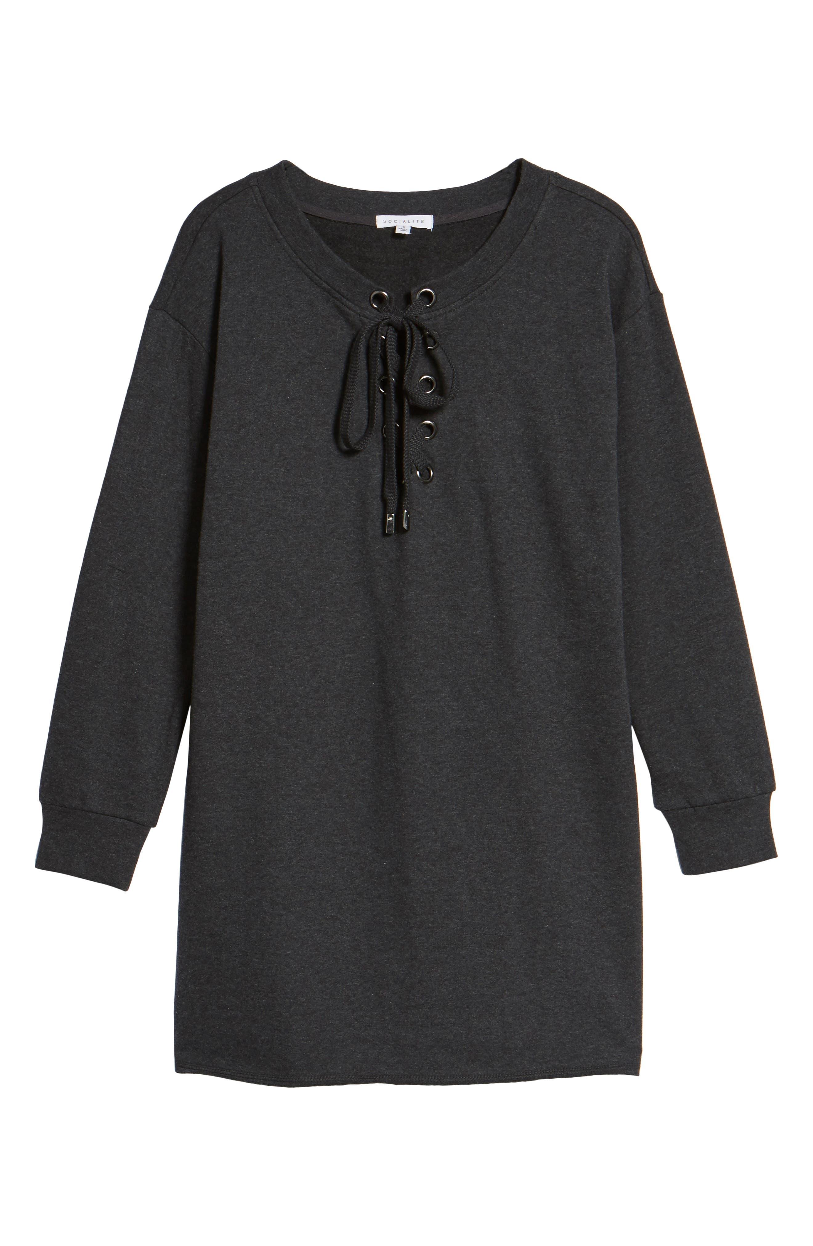 Lace-Up Sweatshirt Dress,                             Alternate thumbnail 6, color,                             020
