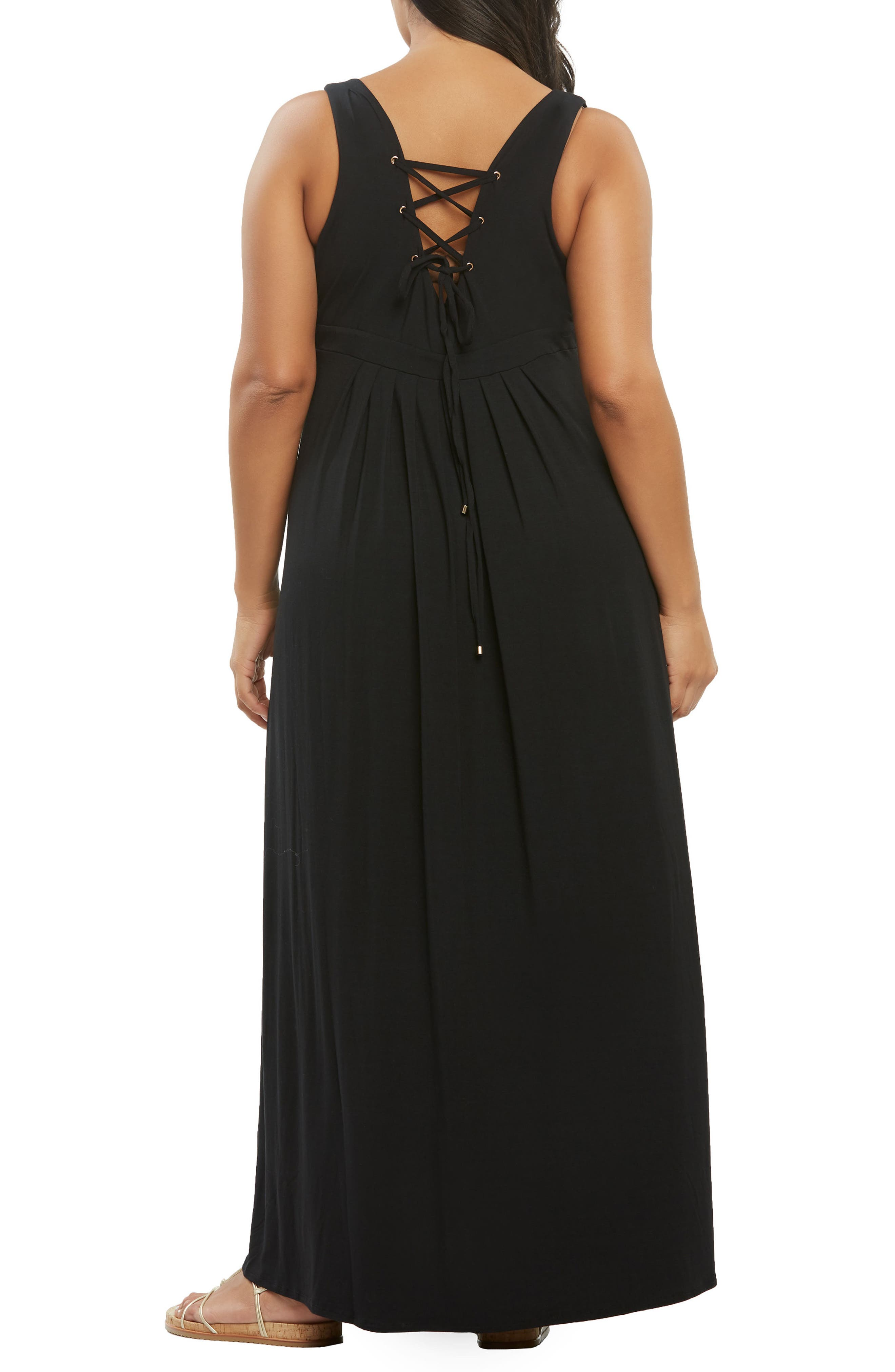 Chael Lace-Up Back Maxi Dress,                             Alternate thumbnail 2, color,                             BLACK