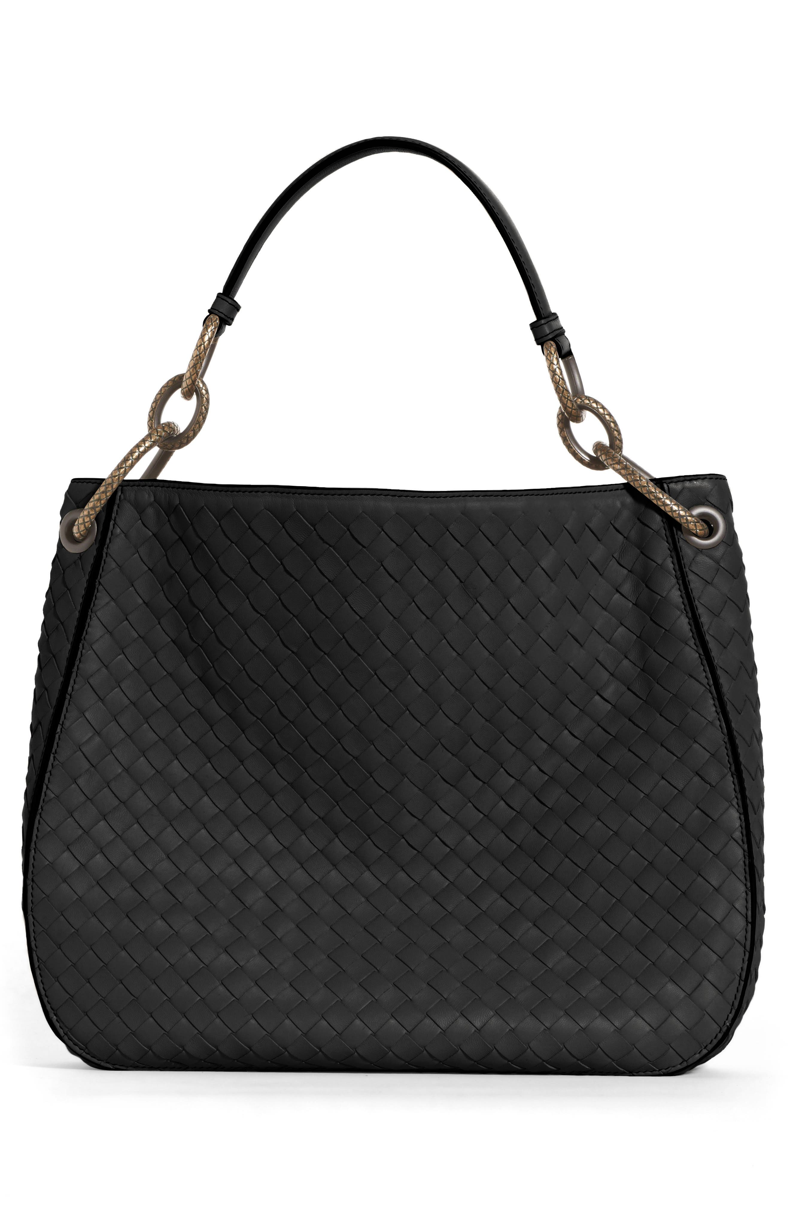 Small Loop Leather Hobo,                             Alternate thumbnail 2, color,                             001