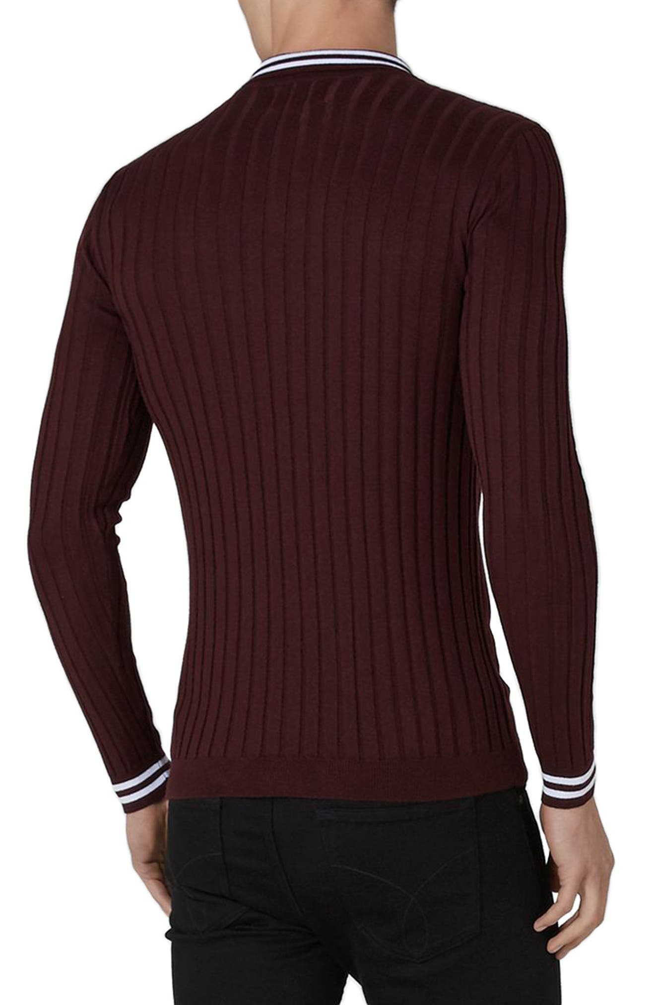 Slim Fit Rib Knit Polo,                             Alternate thumbnail 2, color,                             930