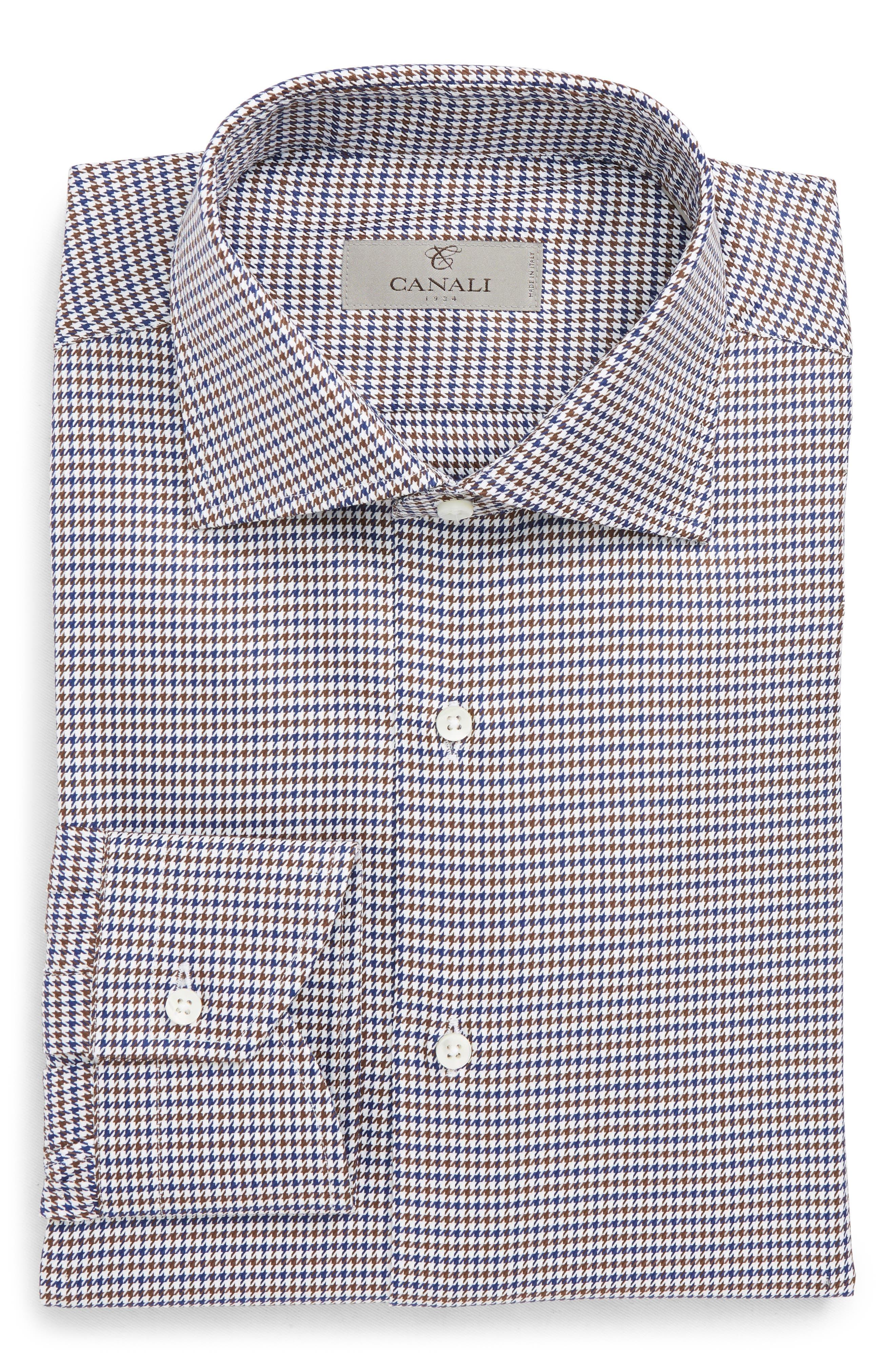 Regular Fit Houndstooth Dress Shirt,                             Alternate thumbnail 6, color,                             NAVY/ BROWN