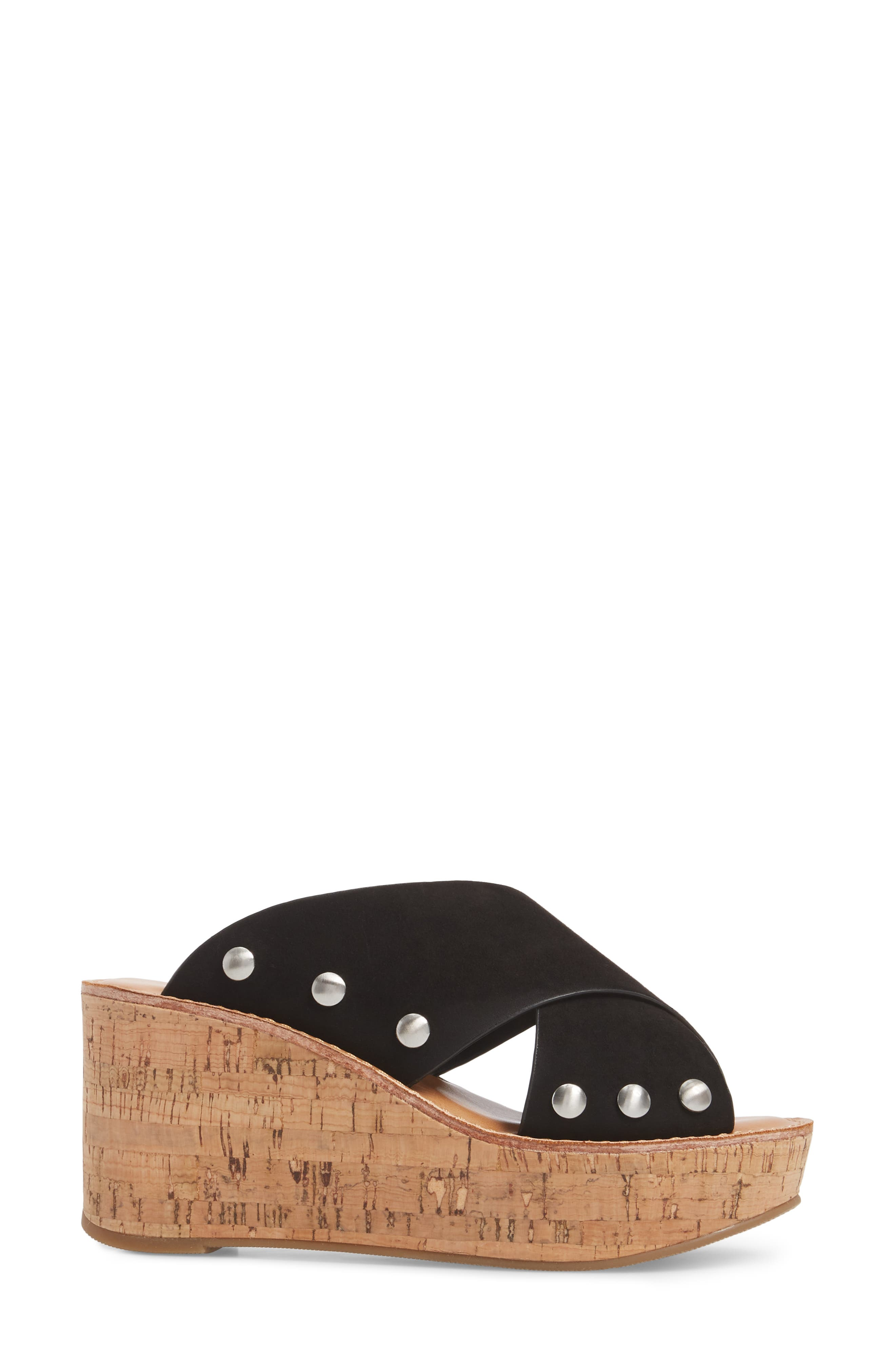 Oahu Platform Wedge Sandal,                             Alternate thumbnail 3, color,                             BLACK