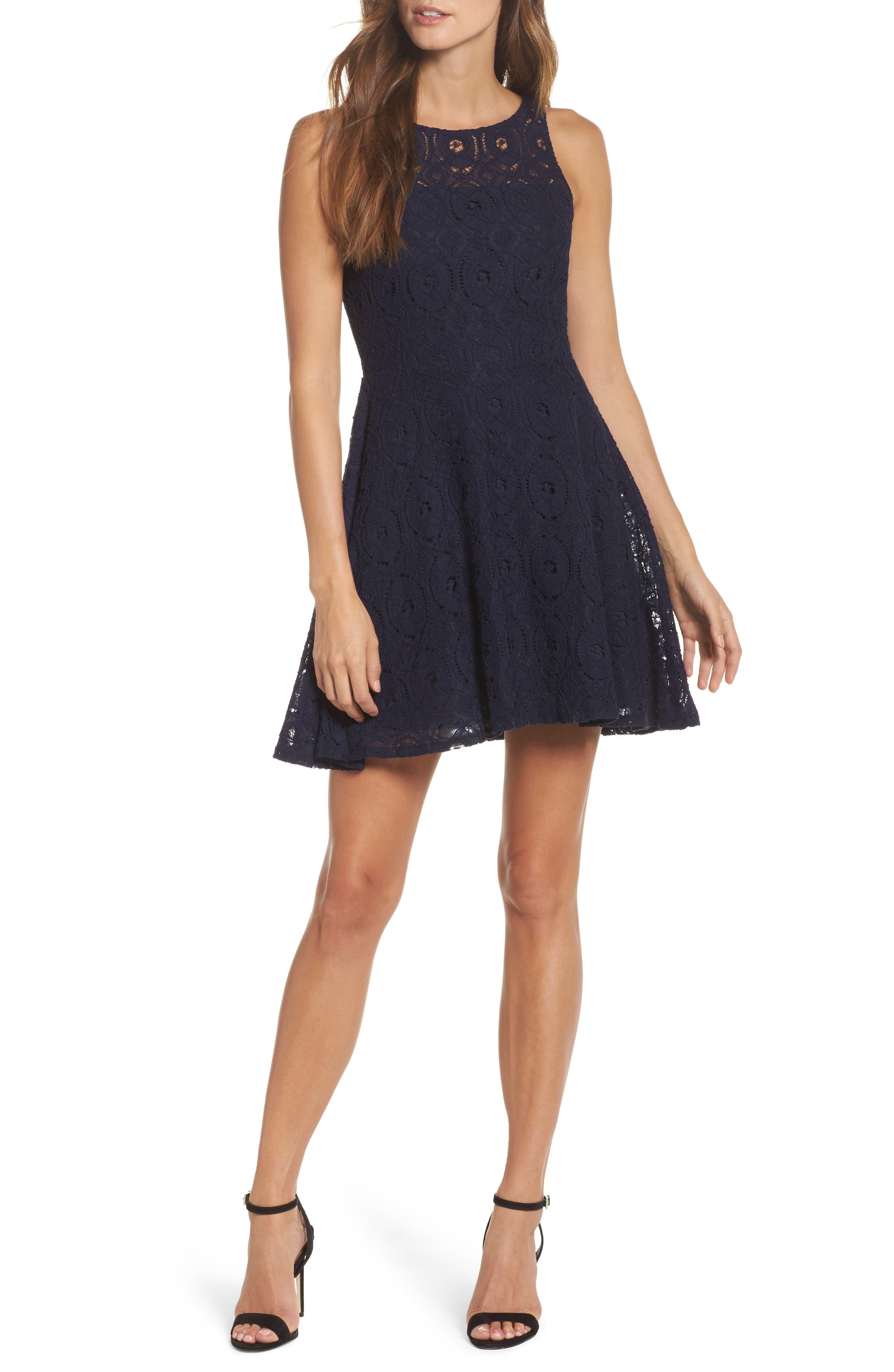 Bb Dakota Renley Lace Fit & Flare Dress, Blue