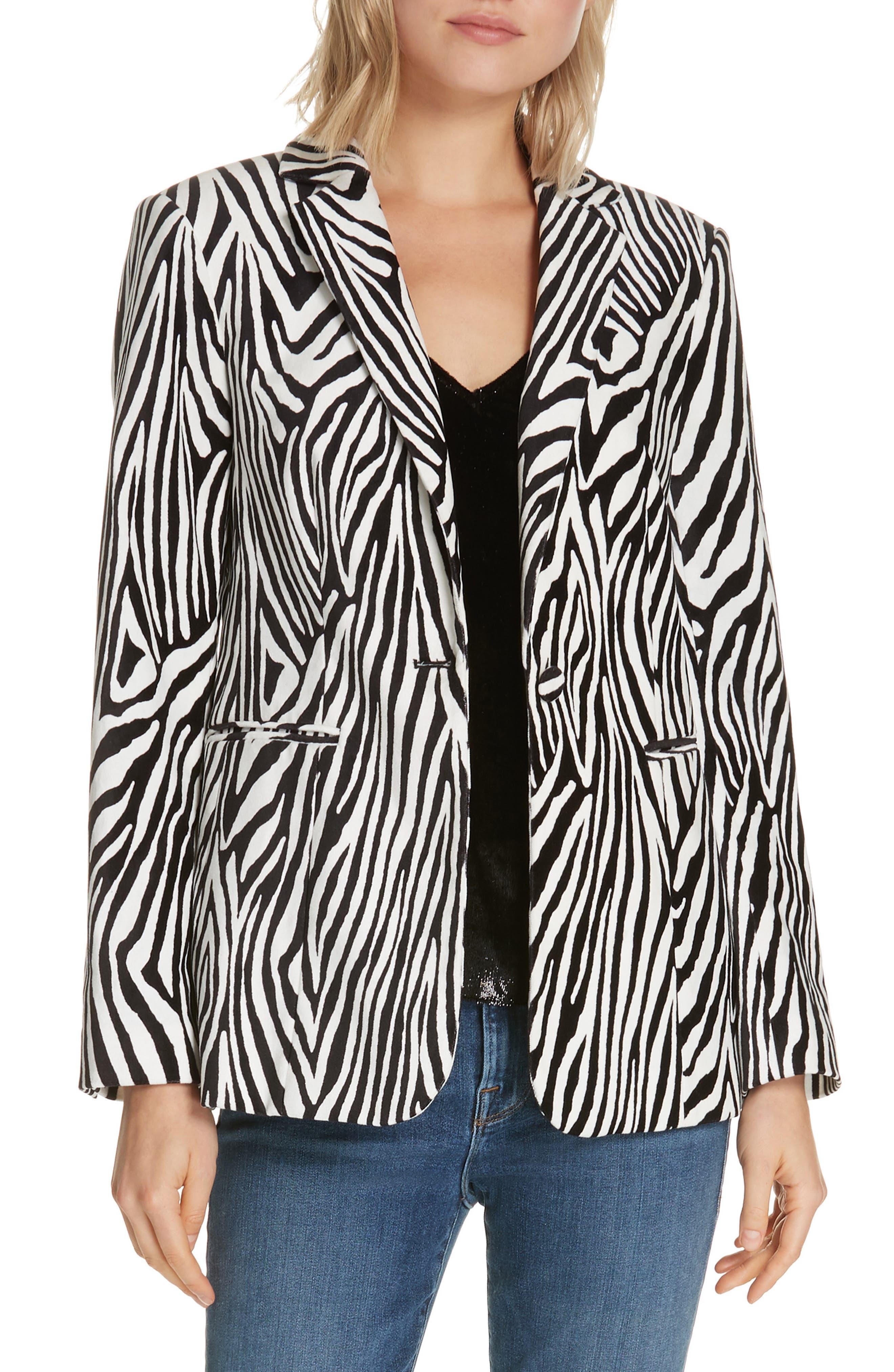 Zebra Print Blazer,                         Main,                         color, NOIR MULTI