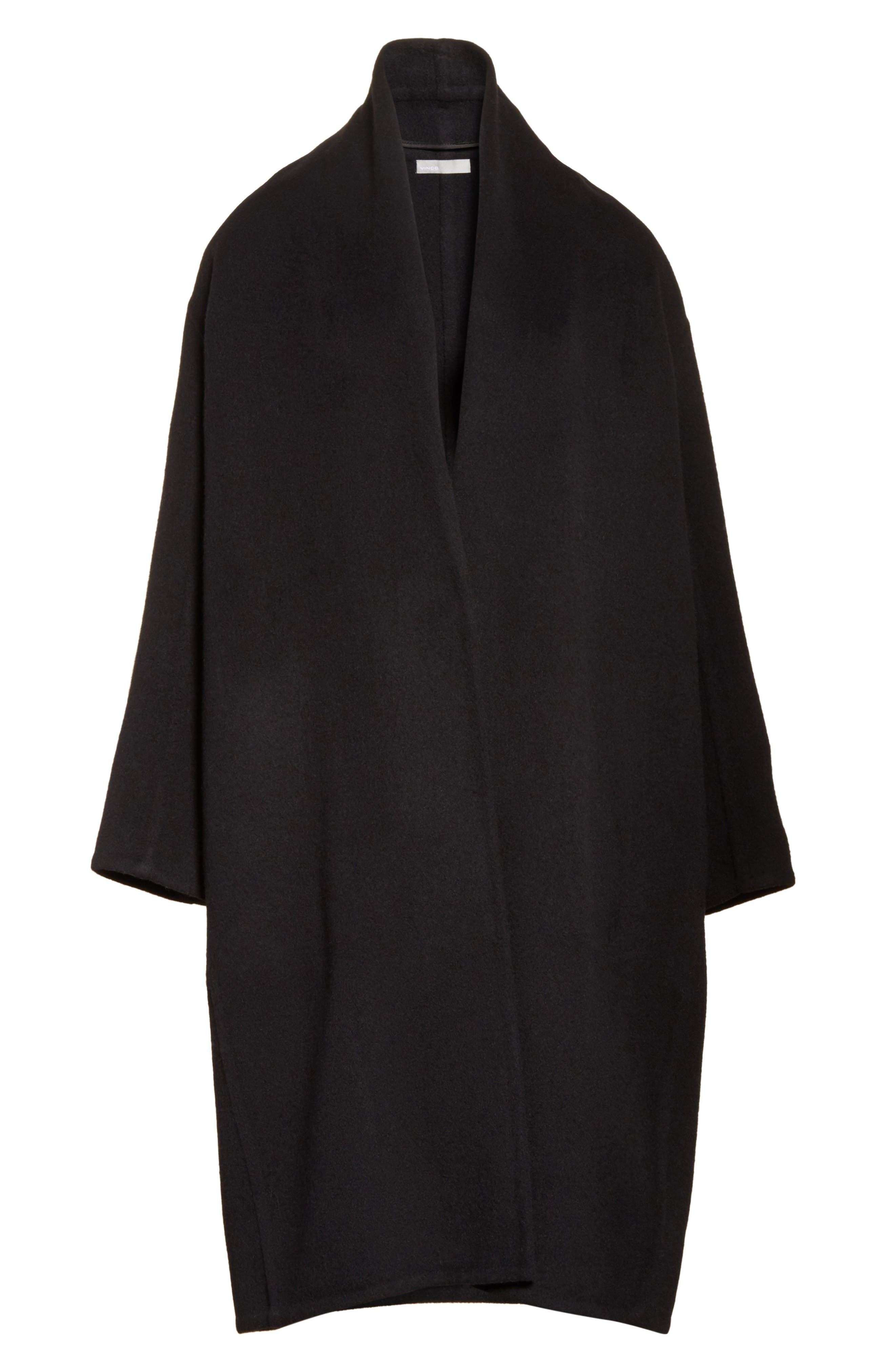 VINCE,                             High Collar Long Wool Blend Coat,                             Alternate thumbnail 5, color,                             001